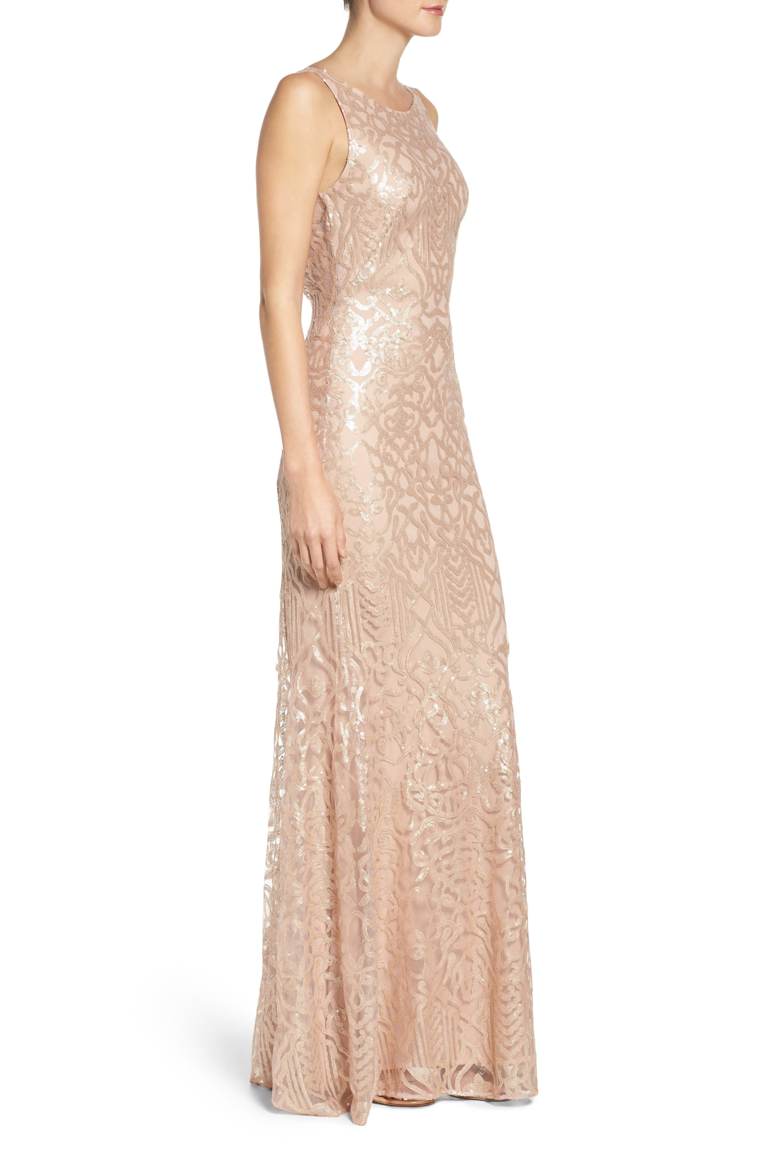 Sequin Embroidered Cowl Back A-Line Gown,                             Alternate thumbnail 3, color,                             Latte