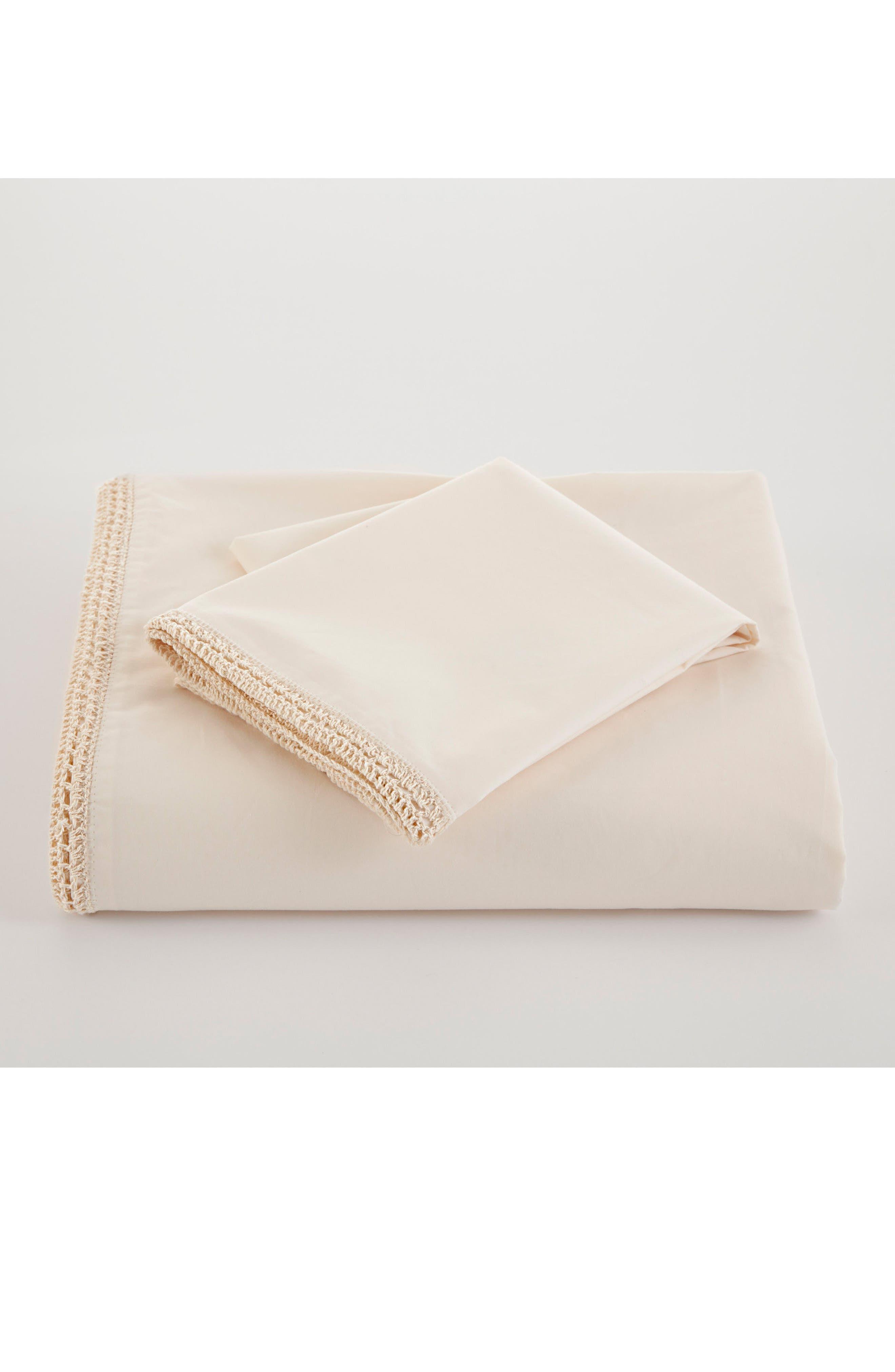 Alternate Image 2  - Portico Crochet Trim Organic Cotton Flat Sheet