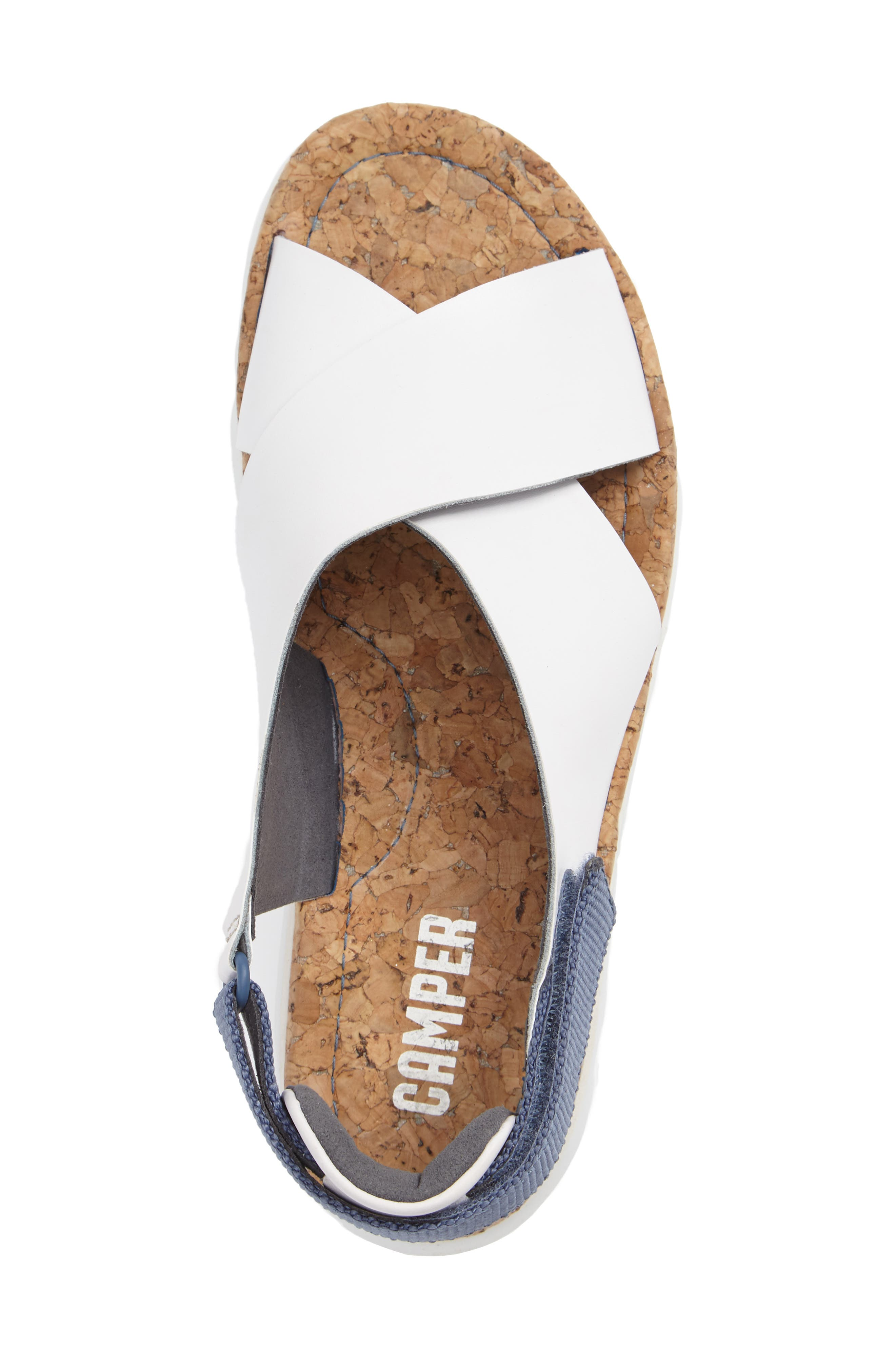 'Oruga' Crisscross Sandal,                             Alternate thumbnail 3, color,                             White Leather