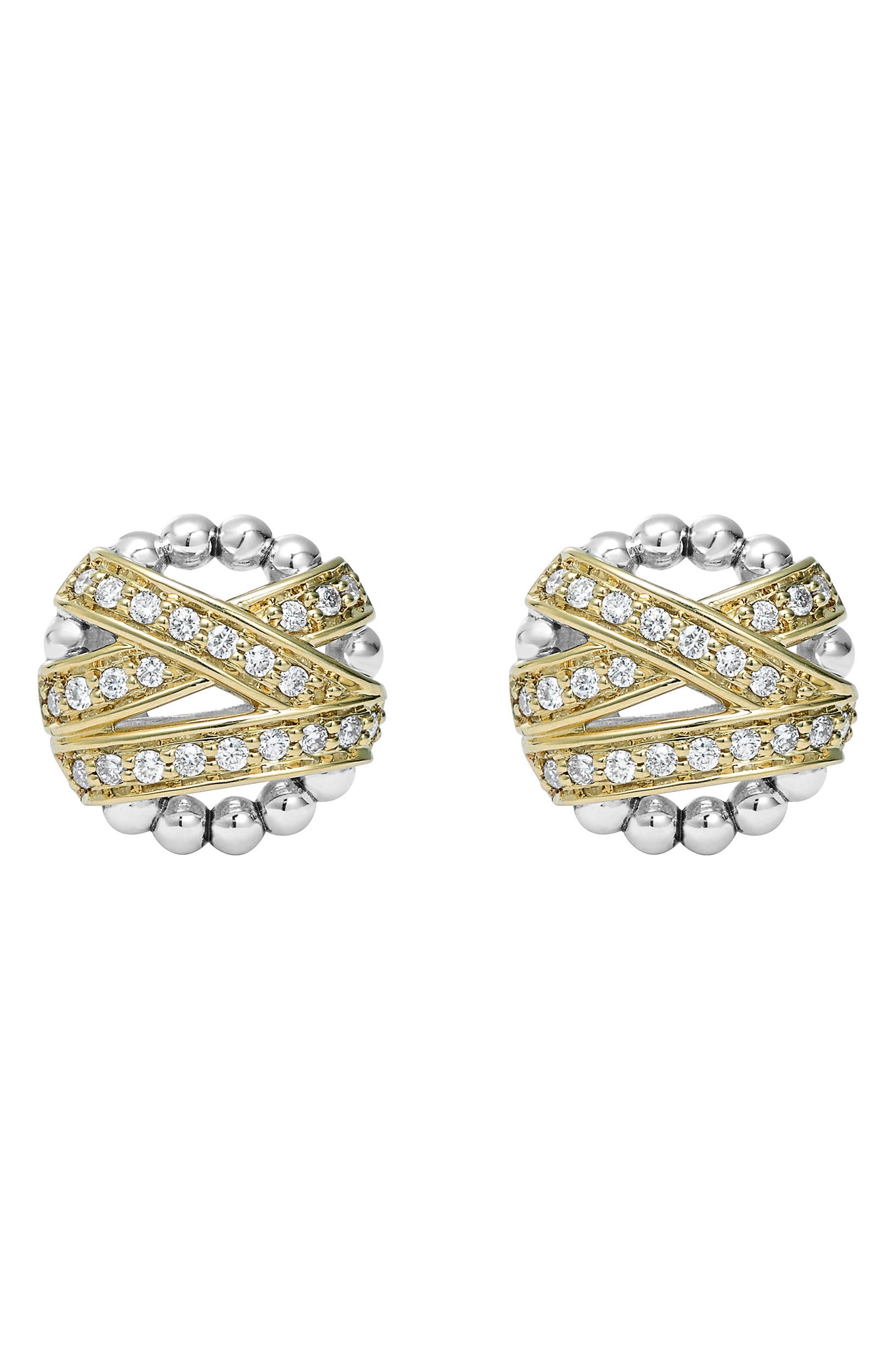 'Diamonds & Caviar' Diamond Stud Earrings,                             Alternate thumbnail 2, color,                             Silver/ Gold