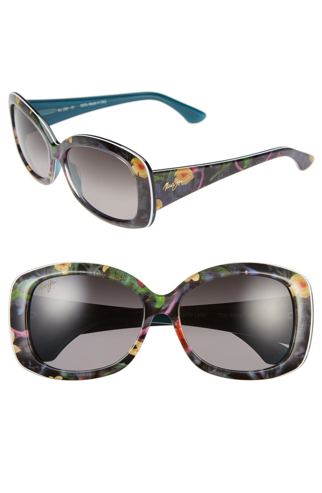 You Move Me 60mm PolarizedPlus2<sup>®</sup> Sunglasses,                             Main thumbnail 1, color,                             Silk/ White/ Teal