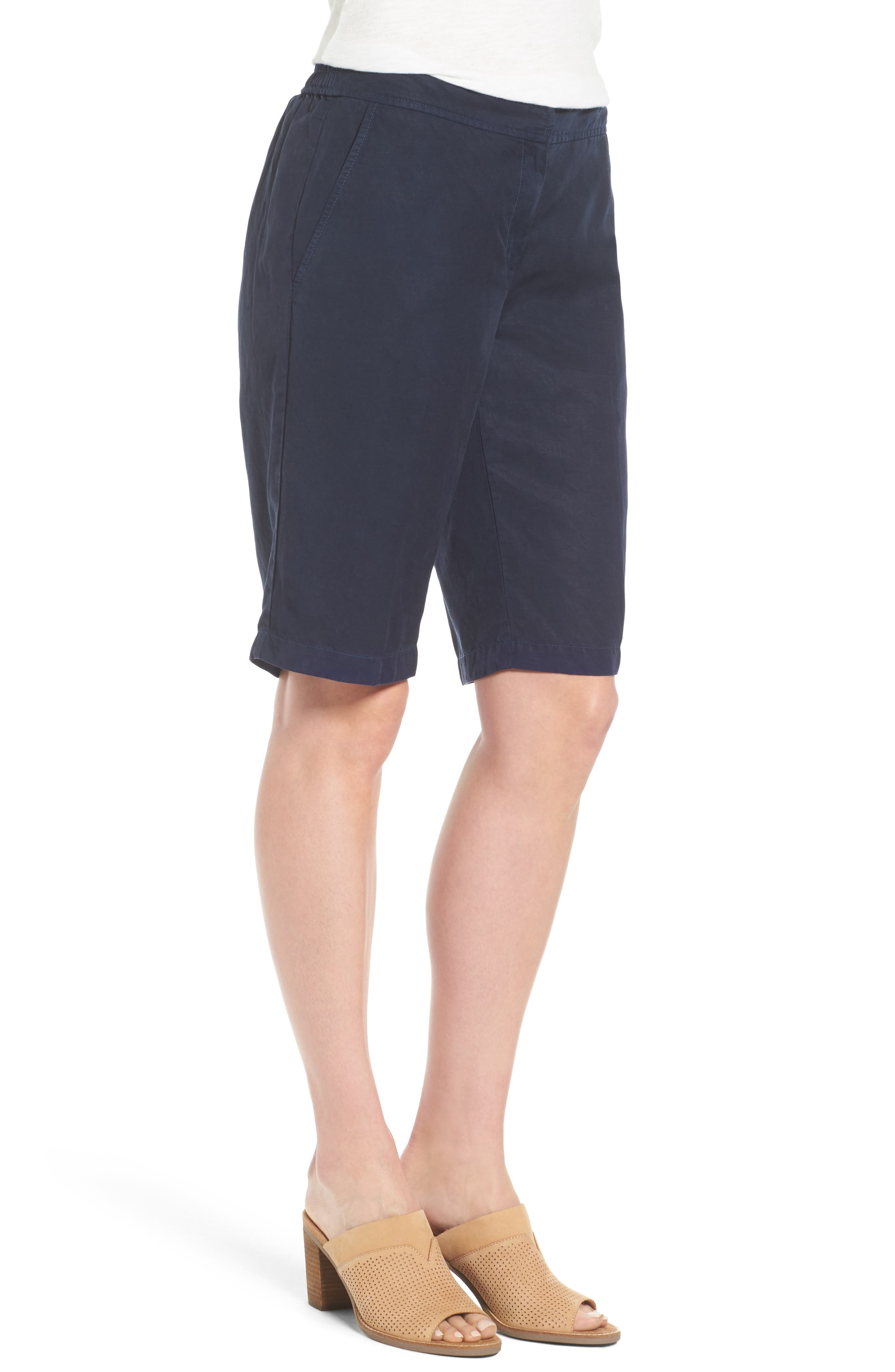 Tencel<sup>®</sup> Lyocell & Linen Walking Shorts,                             Alternate thumbnail 3, color,                             Midnight