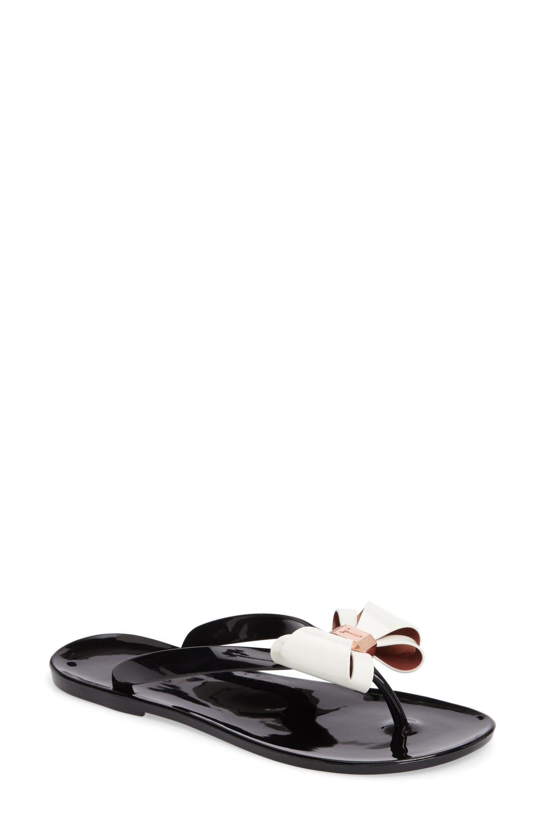 55dc0c099c2525 Ted Baker Rafeek Bow Flip Flop In Black  Cream