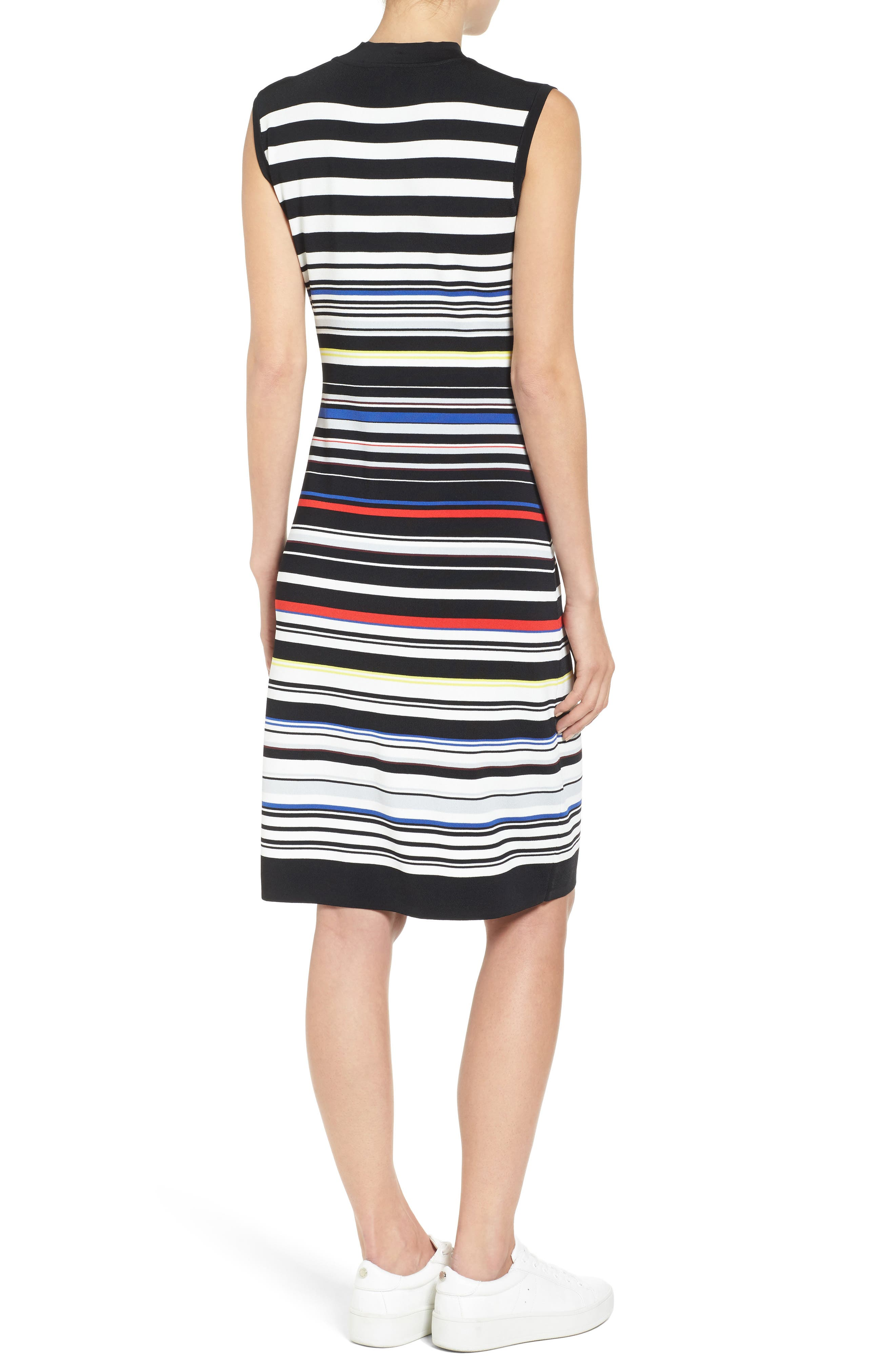 Sleeveless Mock Neck Knit Dress,                             Alternate thumbnail 3, color,                             Black- Red Stripe