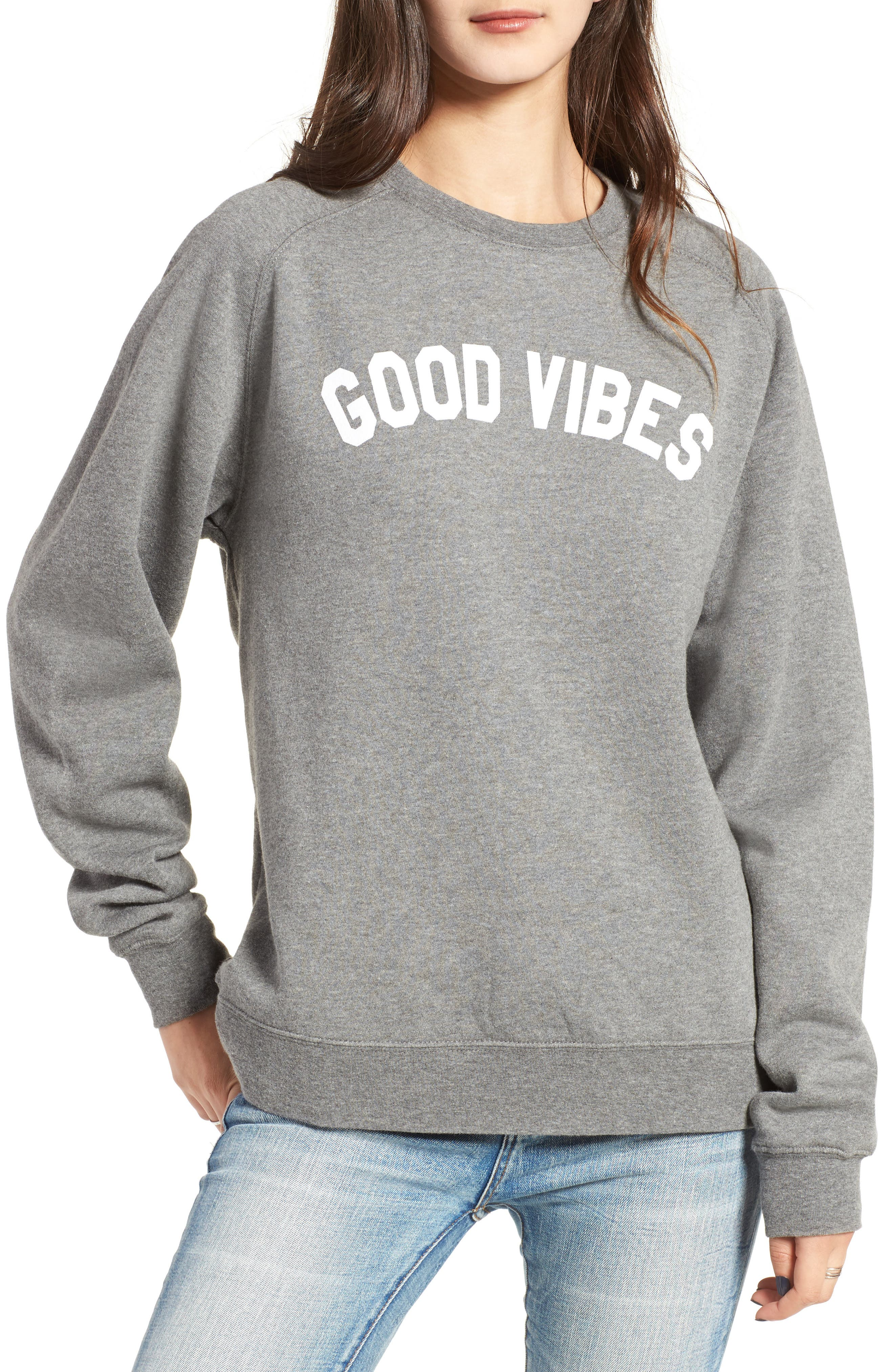 Good Vibes Willow Sweatshirt,                         Main,                         color, Heather Grey