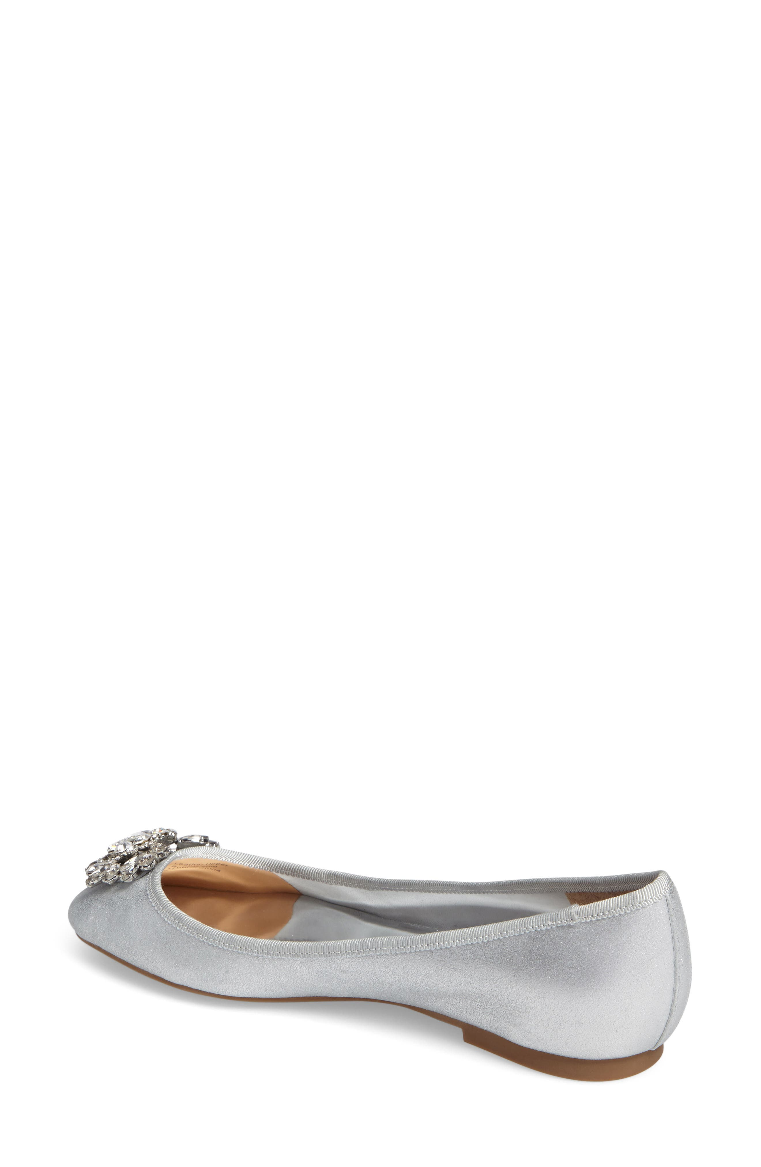 Bianca Embellished Ballet Flat,                             Alternate thumbnail 2, color,                             Silver Metallic Suede