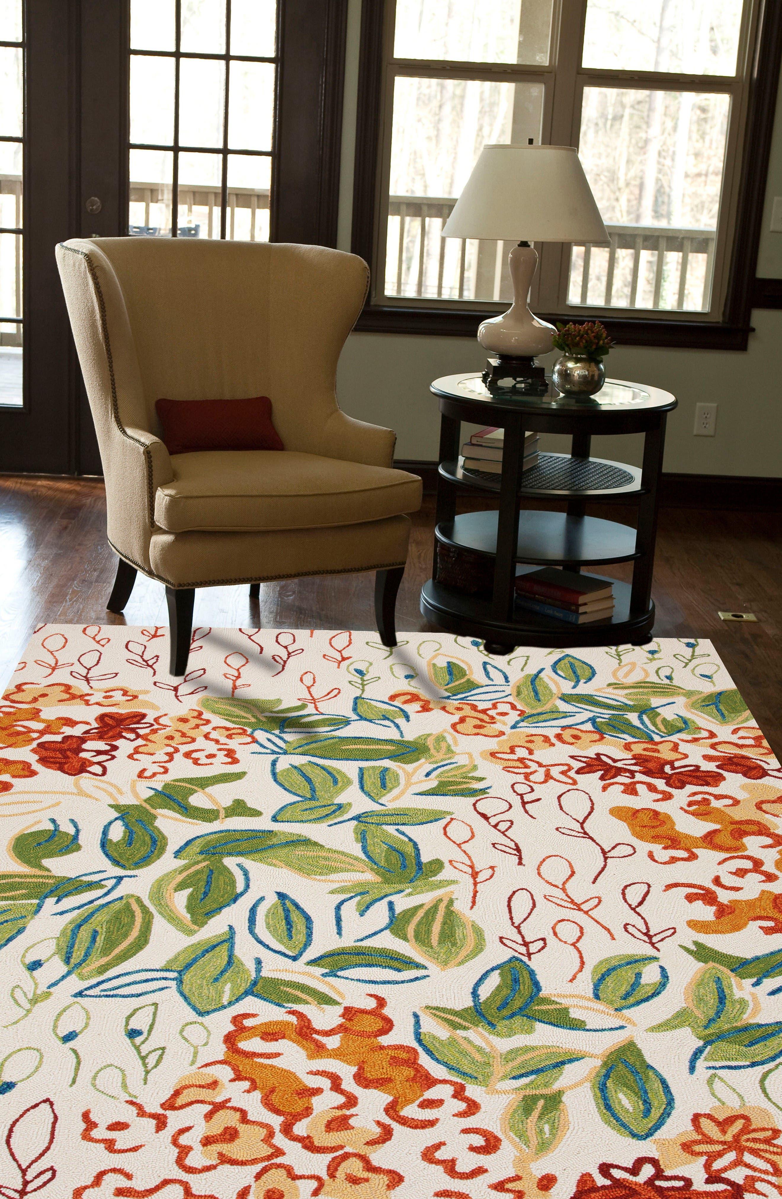 Garden Indoor/Outdoor Rug,                             Alternate thumbnail 5, color,                             Green/ Ivory