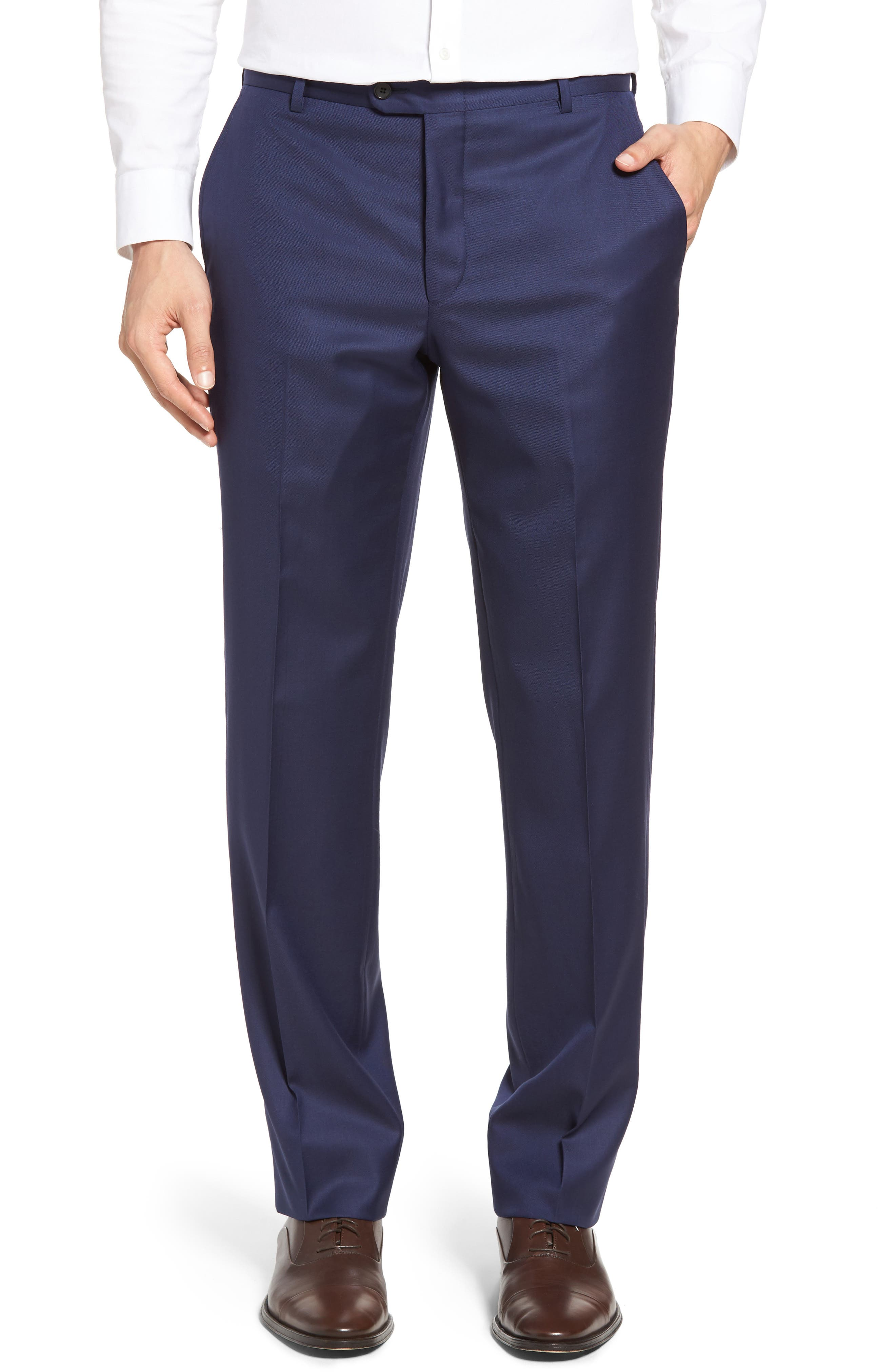 Hickey Freeman Beacon Flat Front Solid Wool Trousers