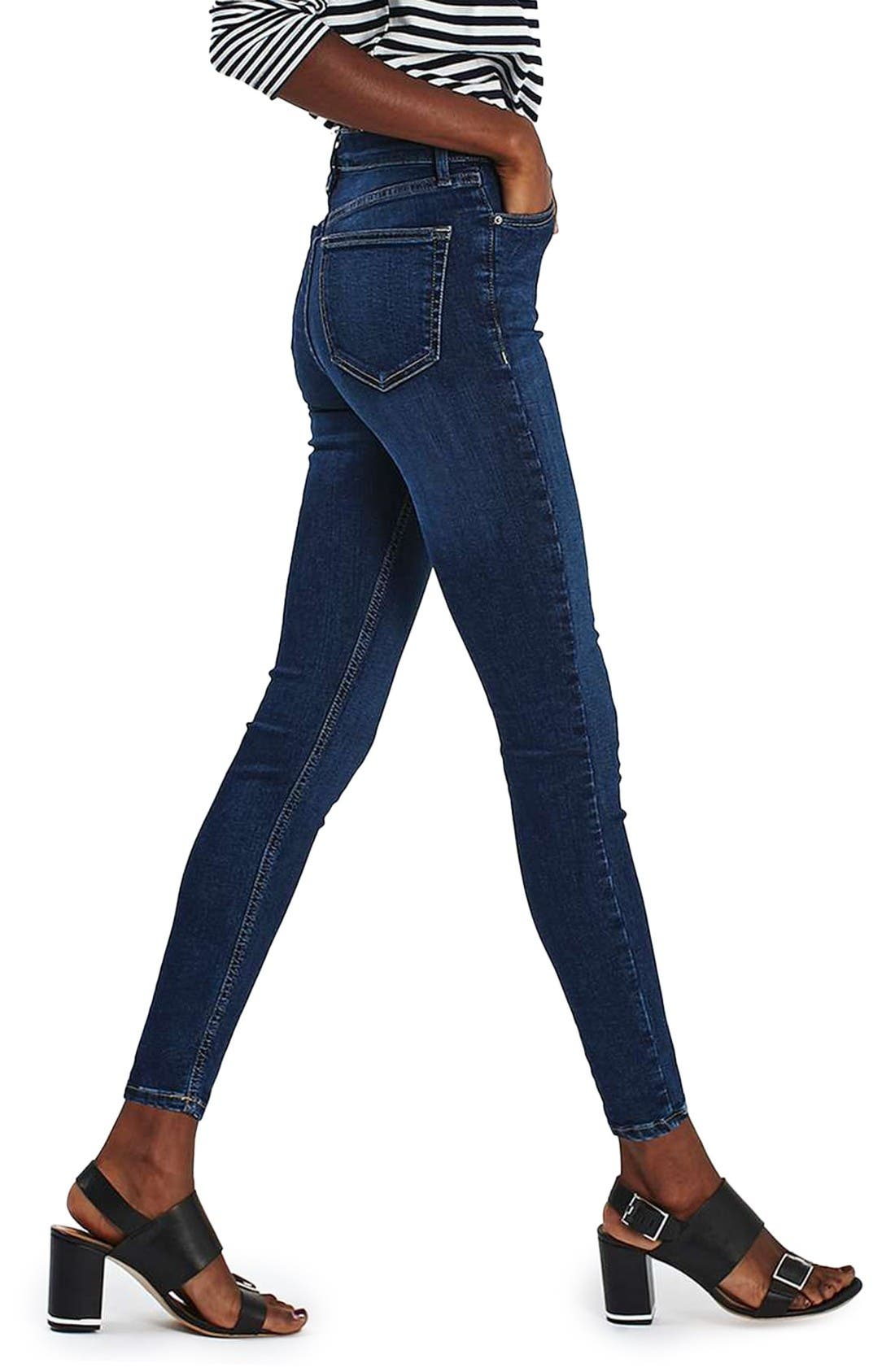 Jamie High Waist Ankle Skinny Jeans,                             Alternate thumbnail 3, color,                             Indigo