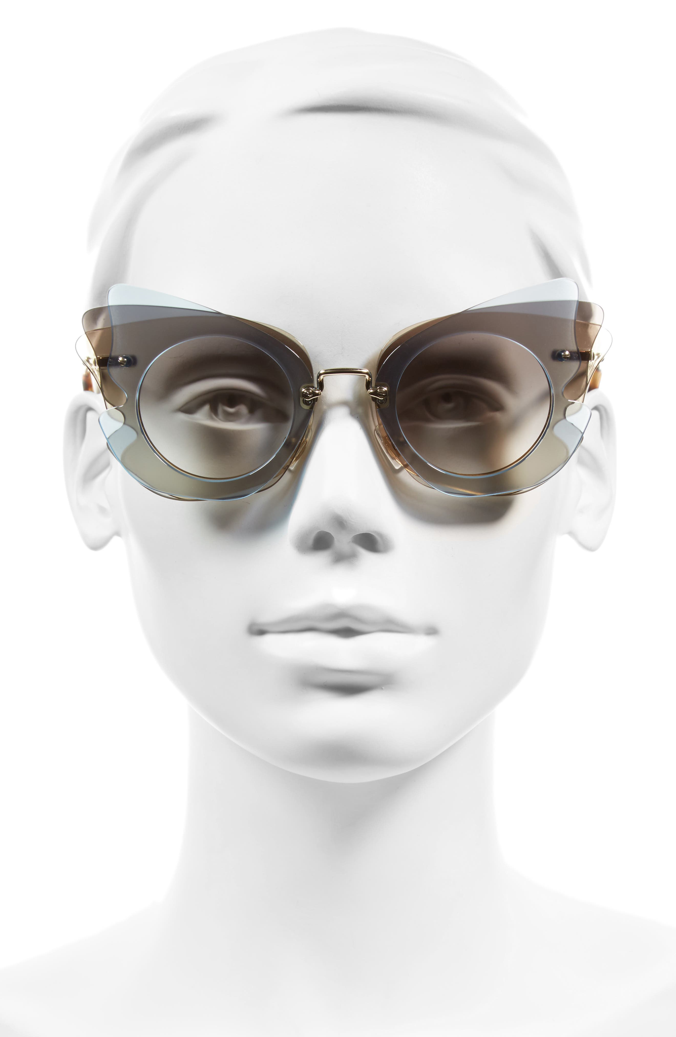 63mm Butterfly Sunglasses,                             Alternate thumbnail 2, color,                             Gold/ Azure