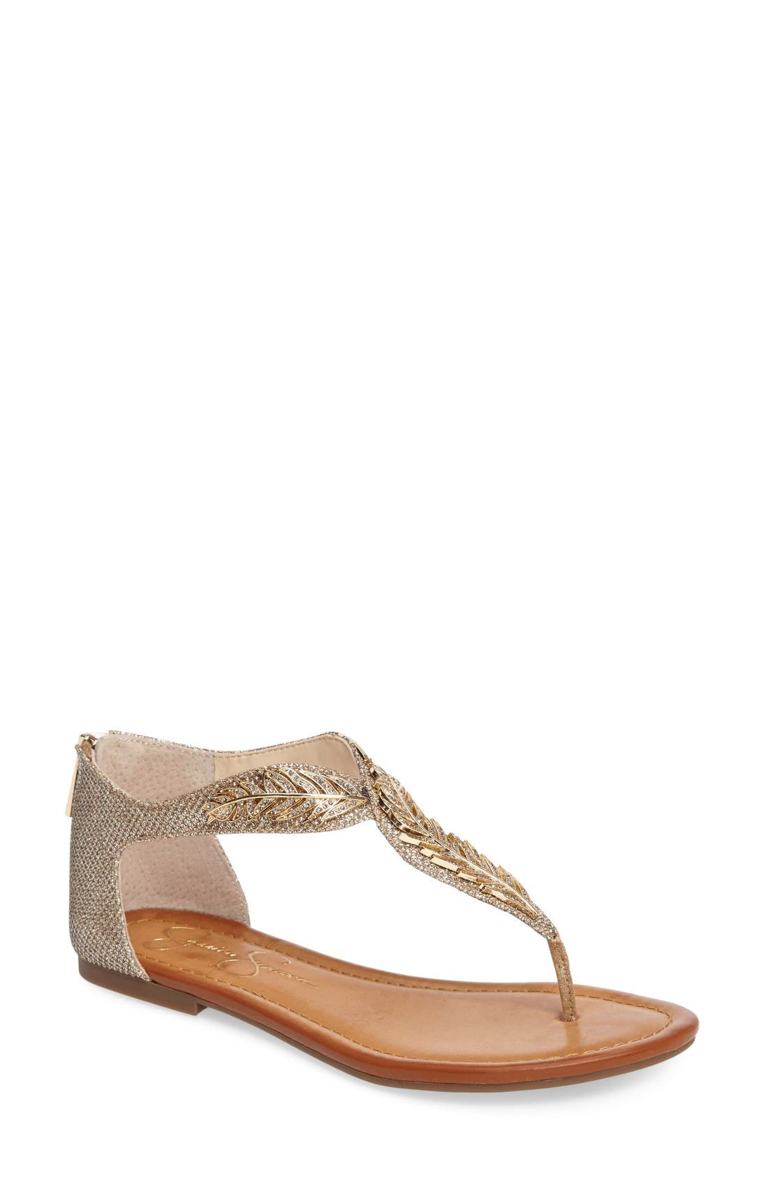 Kalie Embellished Feather Sandal,                             Main thumbnail 1, color,                             Gold Fabric
