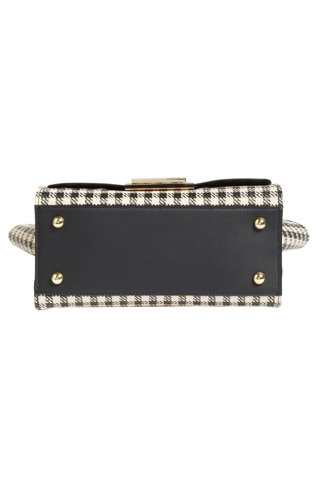 Eartha Gingham Straw Top Handle Satchel with Flower Guitar Strap,                             Alternate thumbnail 5, color,                             Black Gingham