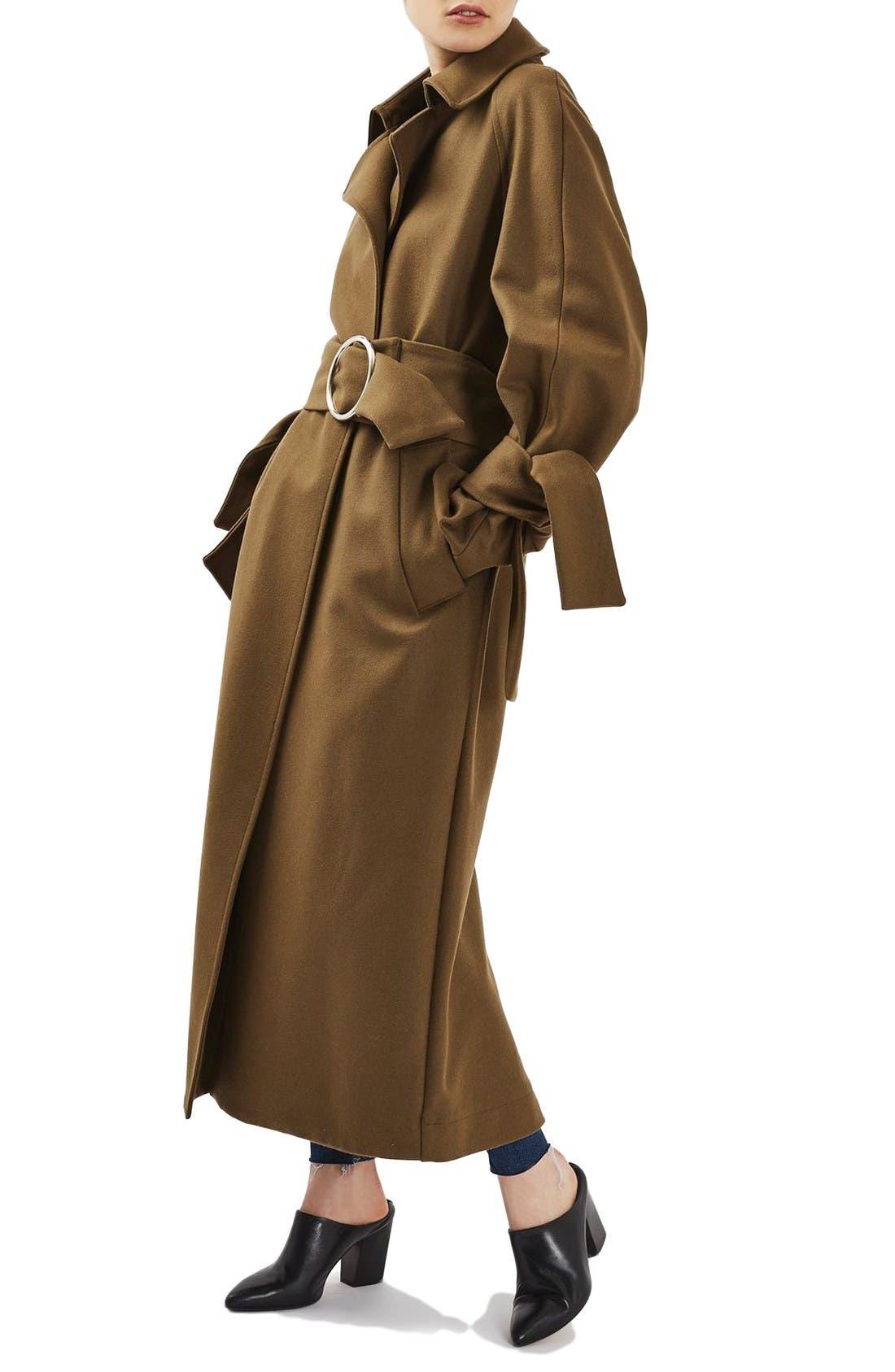 Alternate Image 4  - Topshop Boutique Tie Sleeve Wool Coat