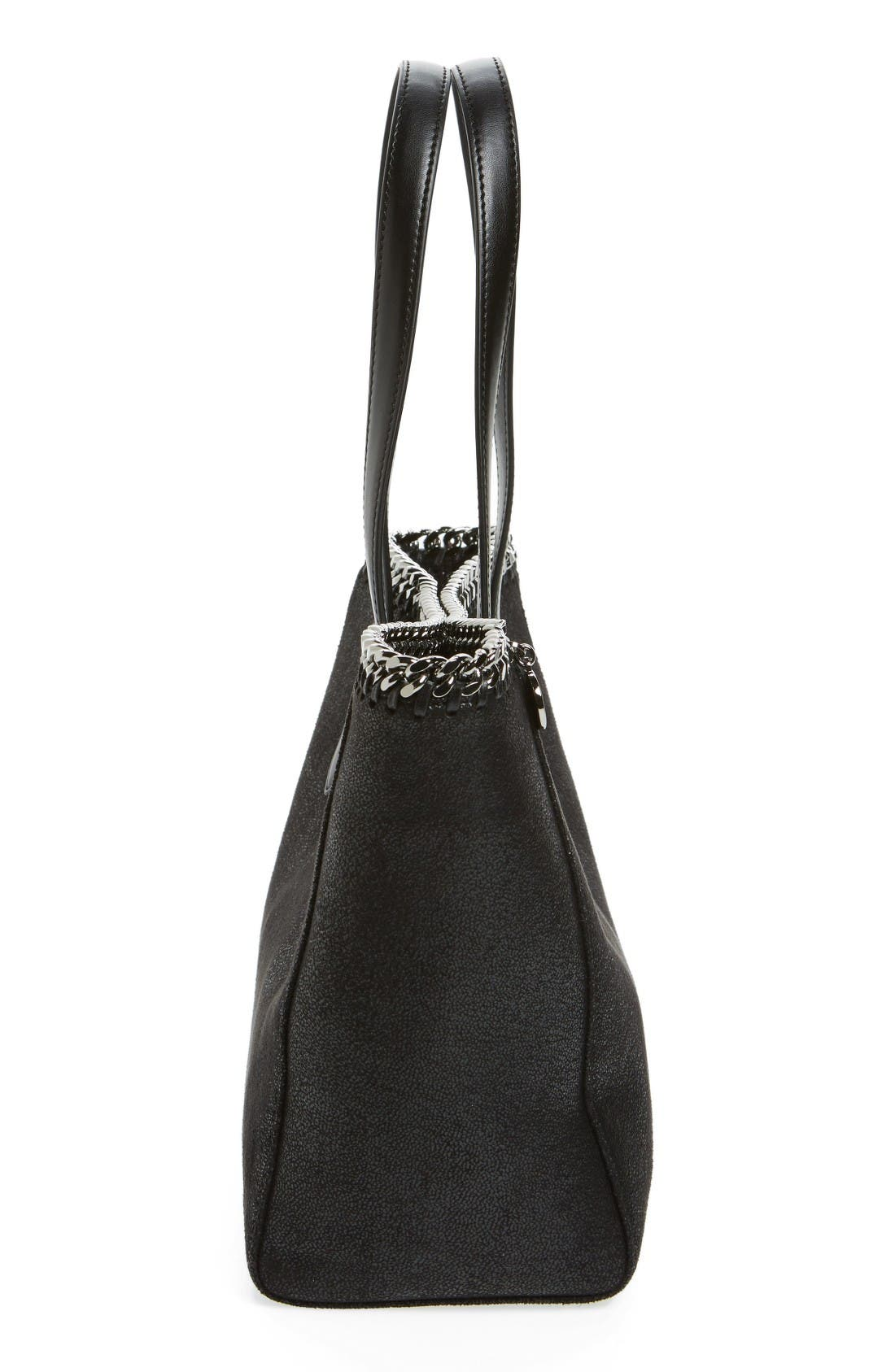 Small Falabella Shaggy Deer Faux Leather Tote,                             Alternate thumbnail 5, color,                             Black