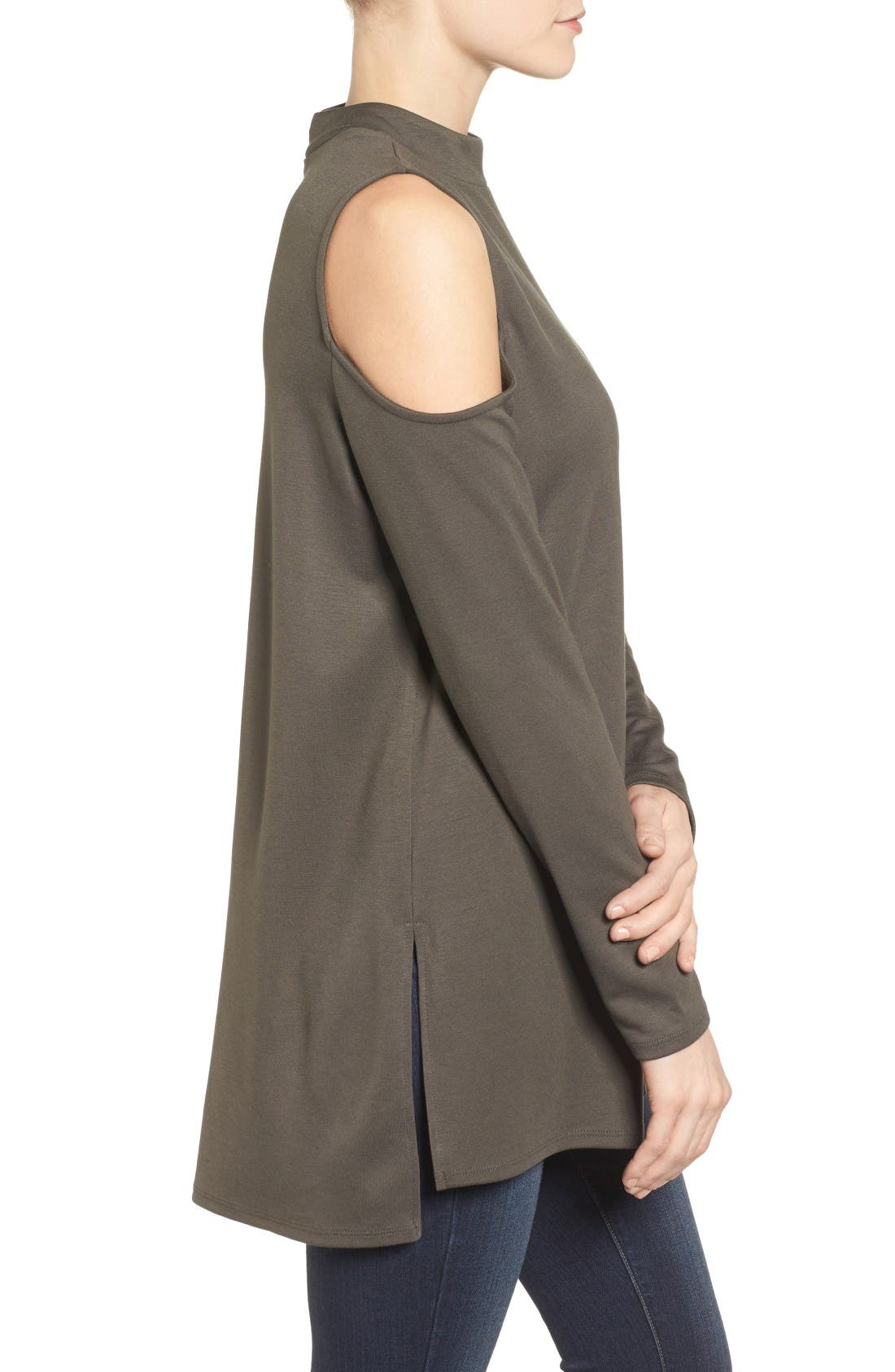 Jersey Cold Shoulder Tunic,                             Alternate thumbnail 3, color,                             Olive