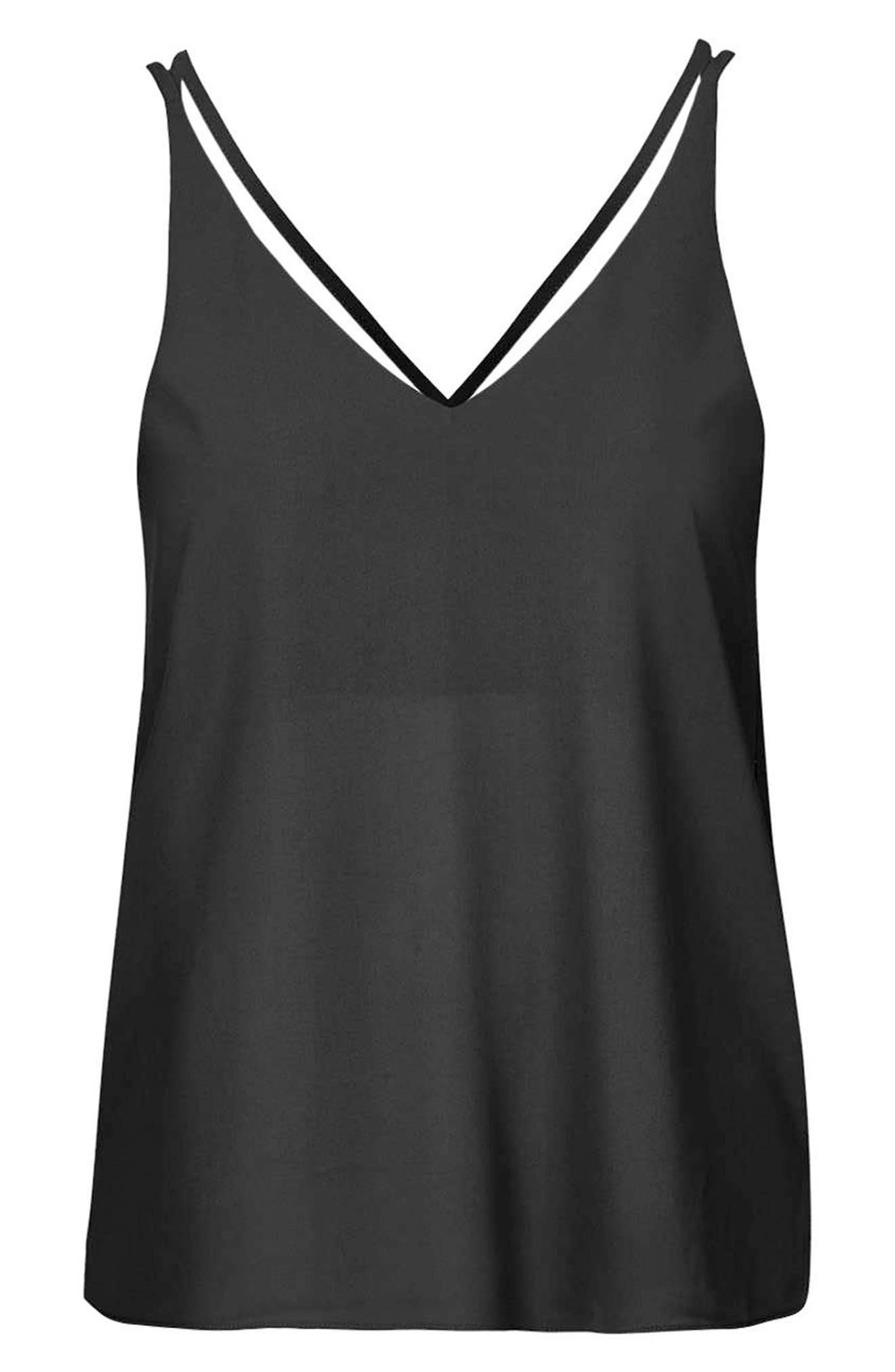 Double Strap V-Back Camisole,                             Alternate thumbnail 6, color,                             Black