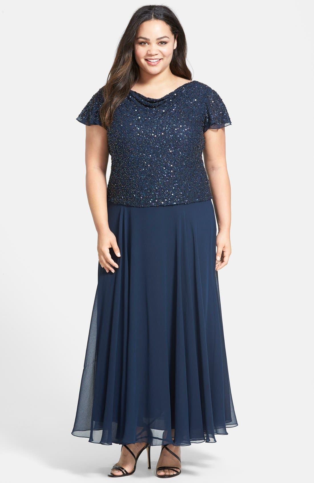 Main Image - J Kara Mock Two Piece Sequin & Chiffon Gown (Plus Size)