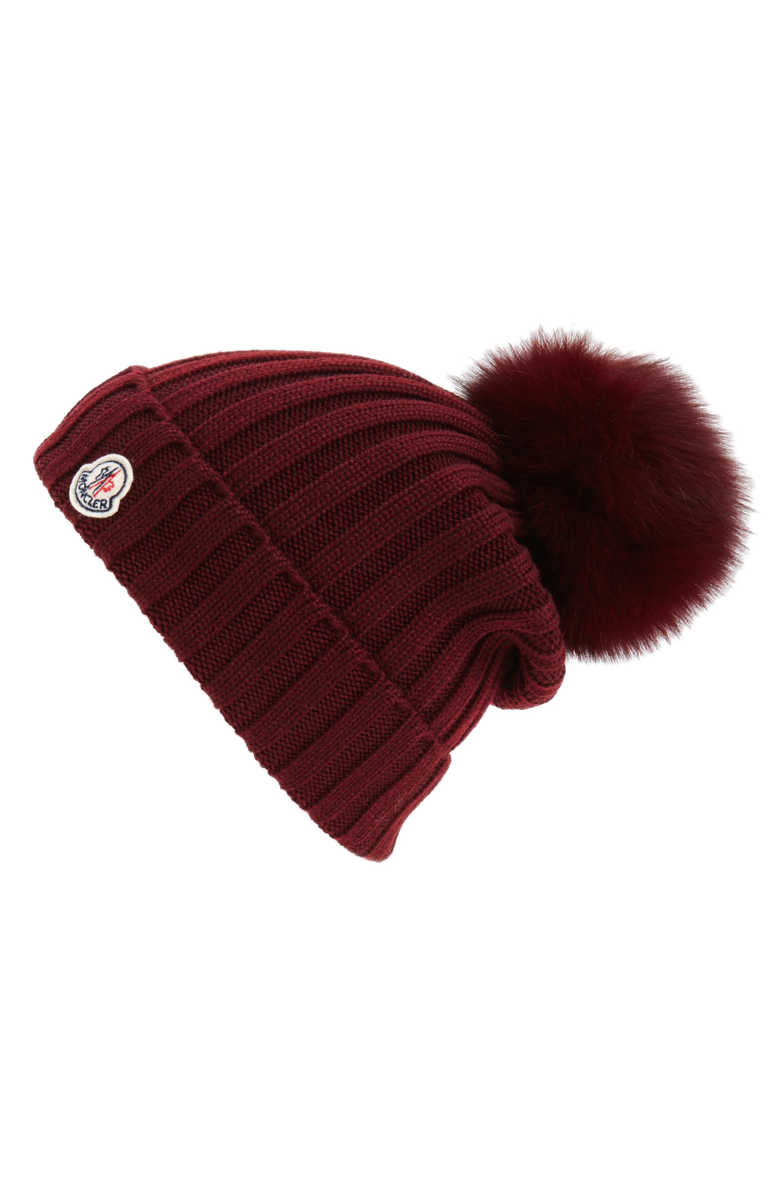 Moncler Genuine Fox Fur Pom Ribbed Wool Beanie