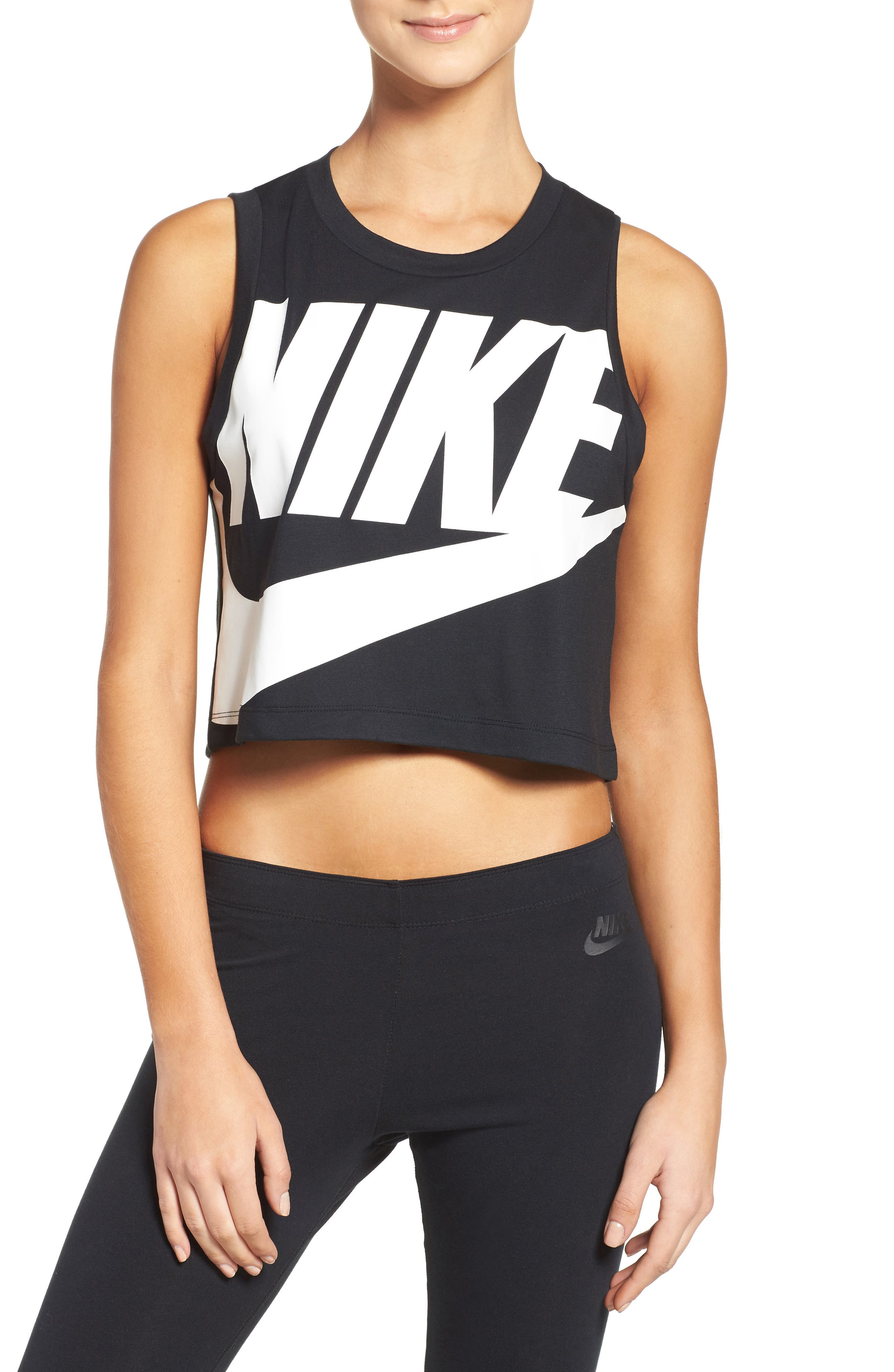 Sportswear Essential Crop Tee,                         Main,                         color, Black/ Black/ White