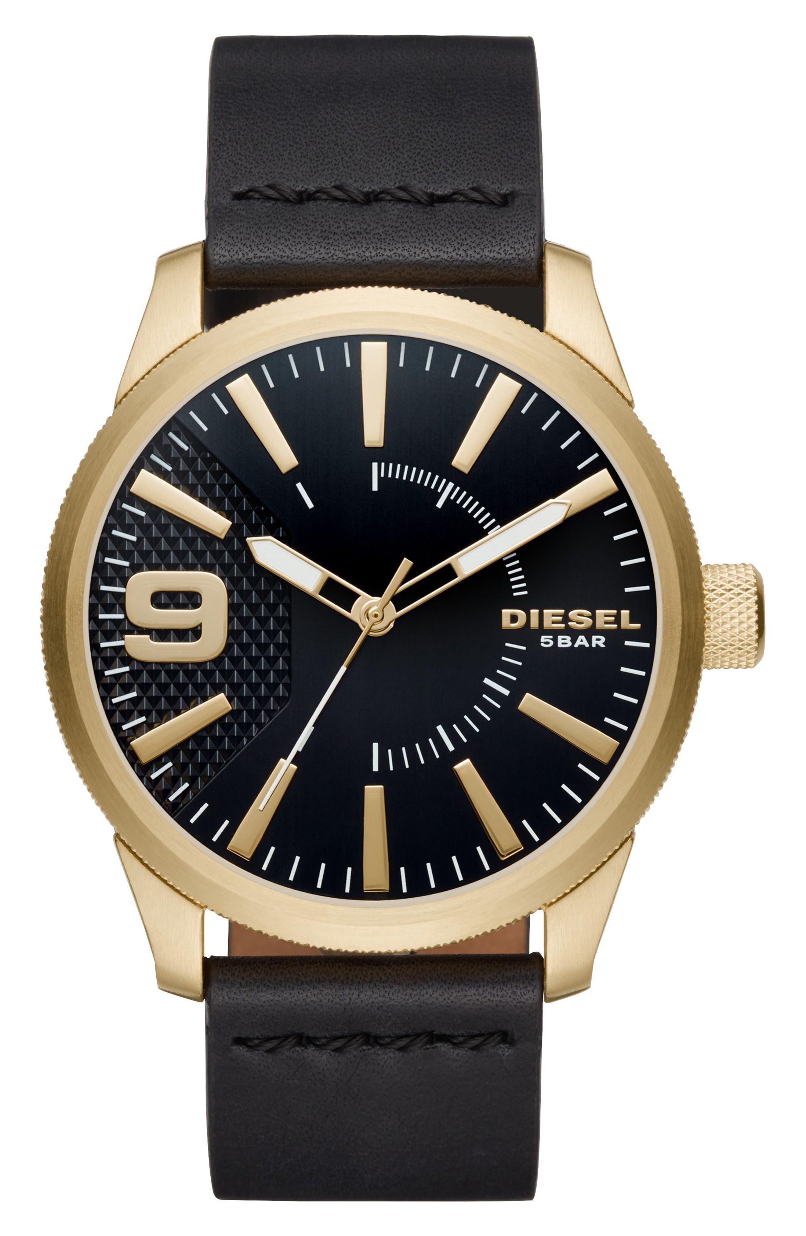 DIESEL® Rasp Leather Strap Watch, 46mm
