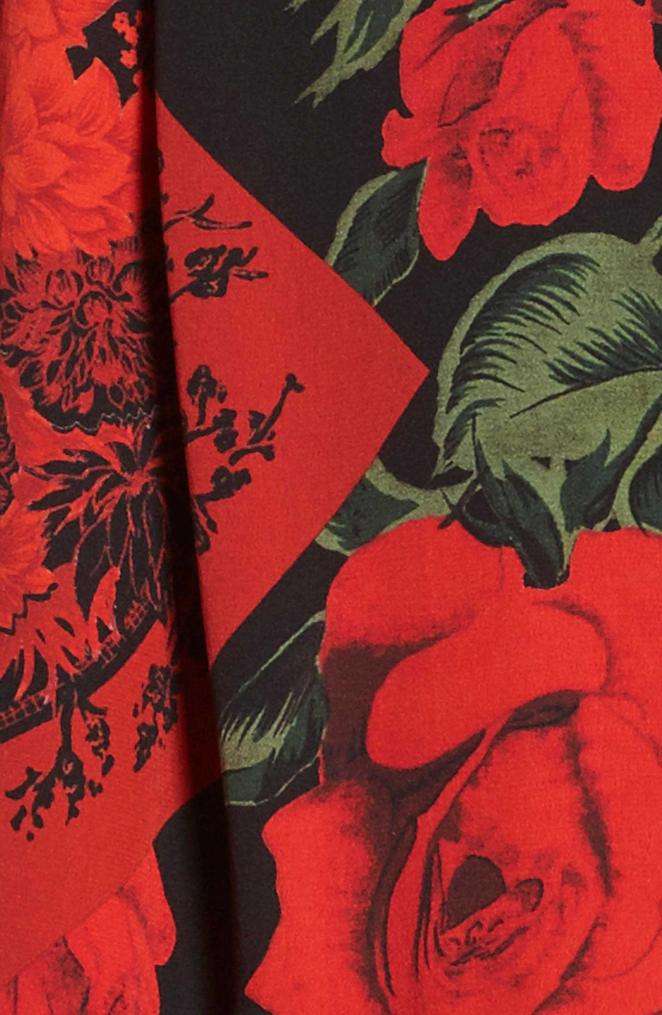 Floral Silk Scarf,                             Alternate thumbnail 3, color,                             Black/ Red