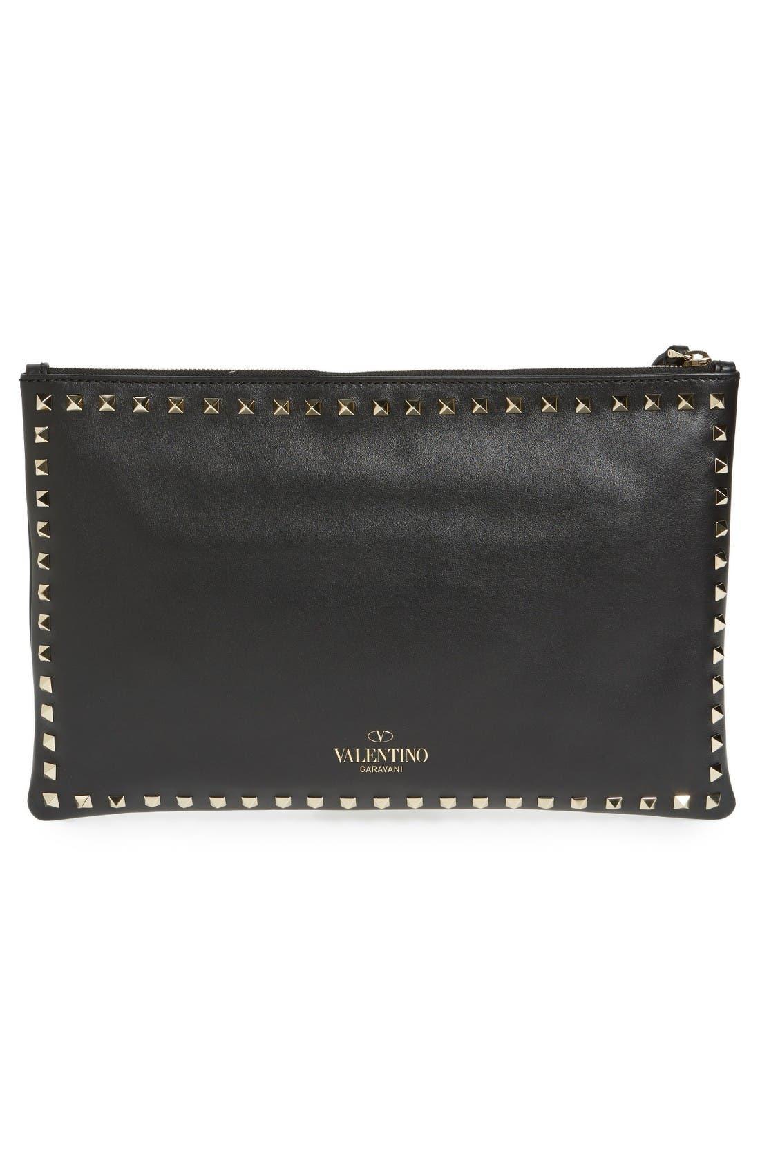 Valentino Small Rockstud Vitello Leather Clutch,                             Alternate thumbnail 3, color,                             Nero