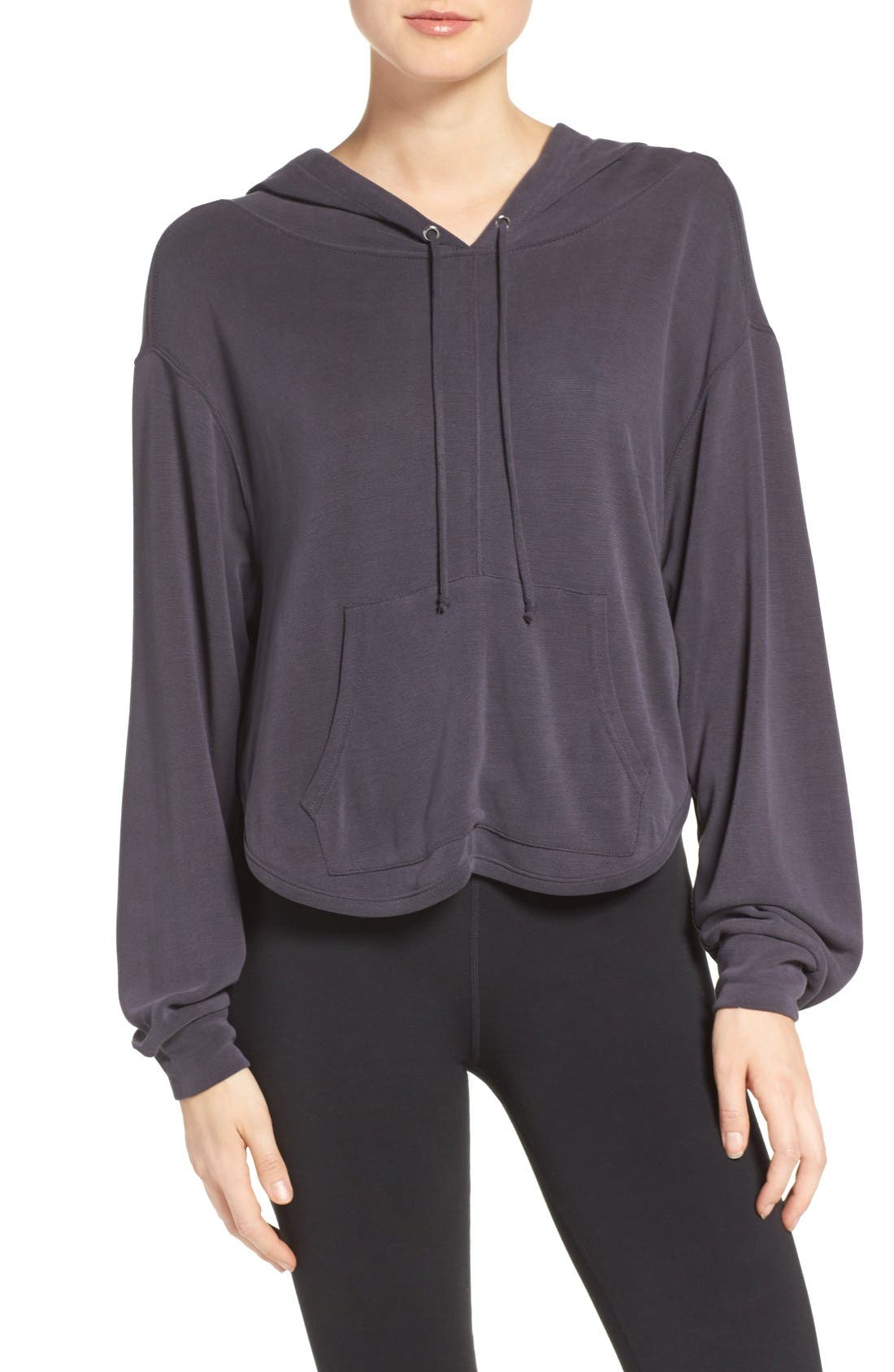 Free People Back Into It Cutout Hoodie,                         Main,                         color, Black
