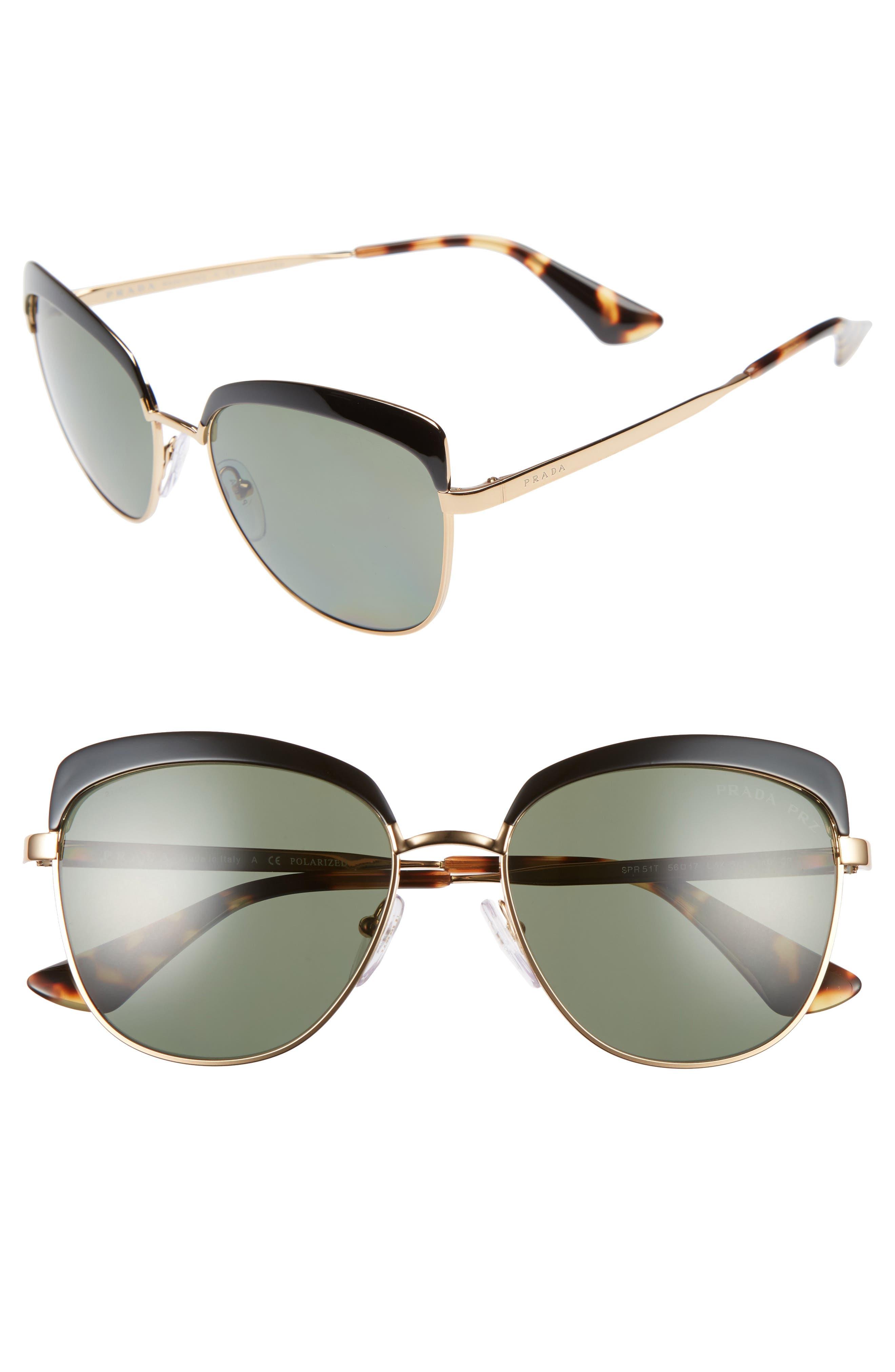 Prada 56mm Polarized Sunglasses