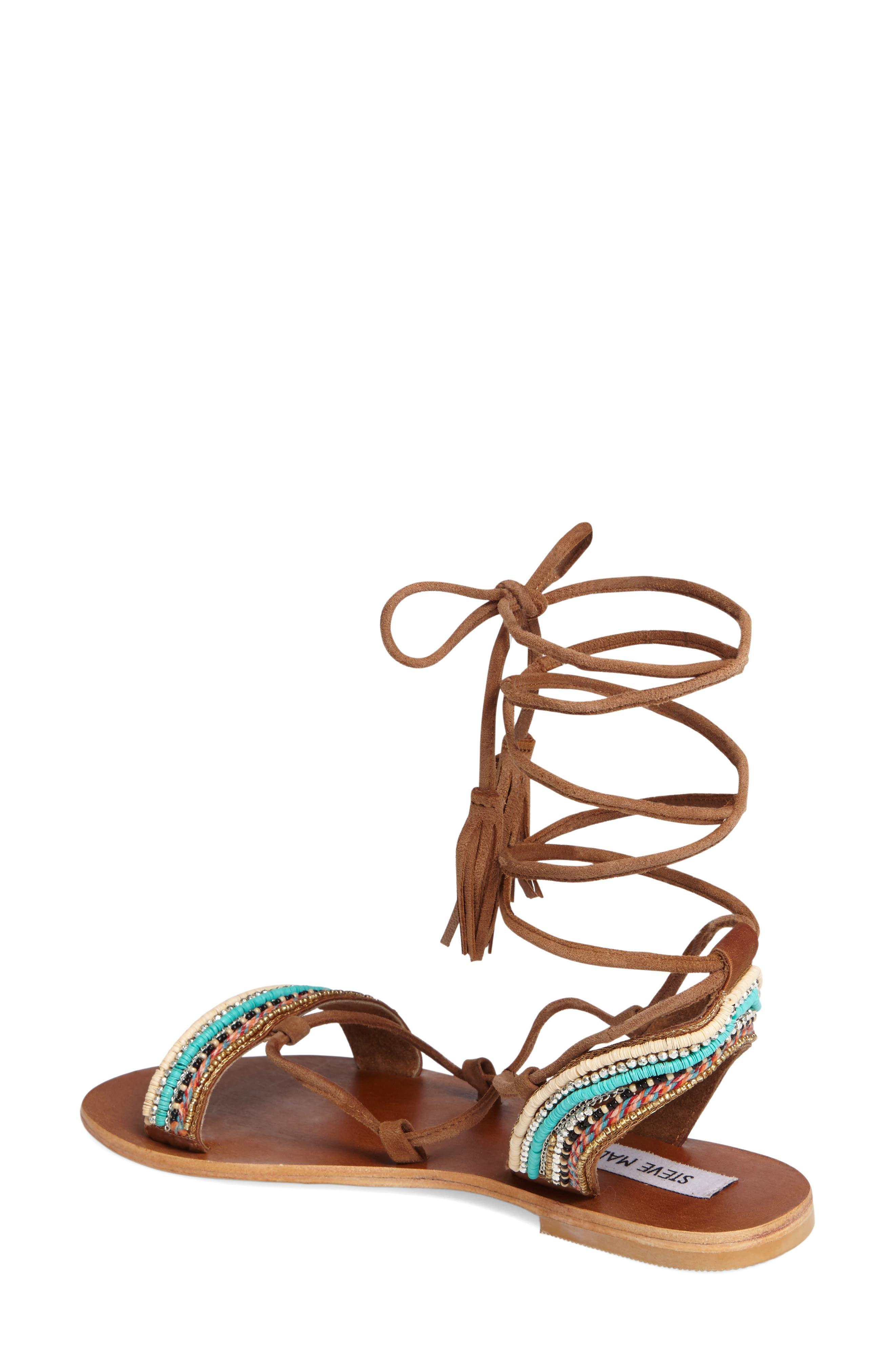 Orva Embellished Ghillie Wrap Sandal,                             Alternate thumbnail 2, color,                             Natural Multi