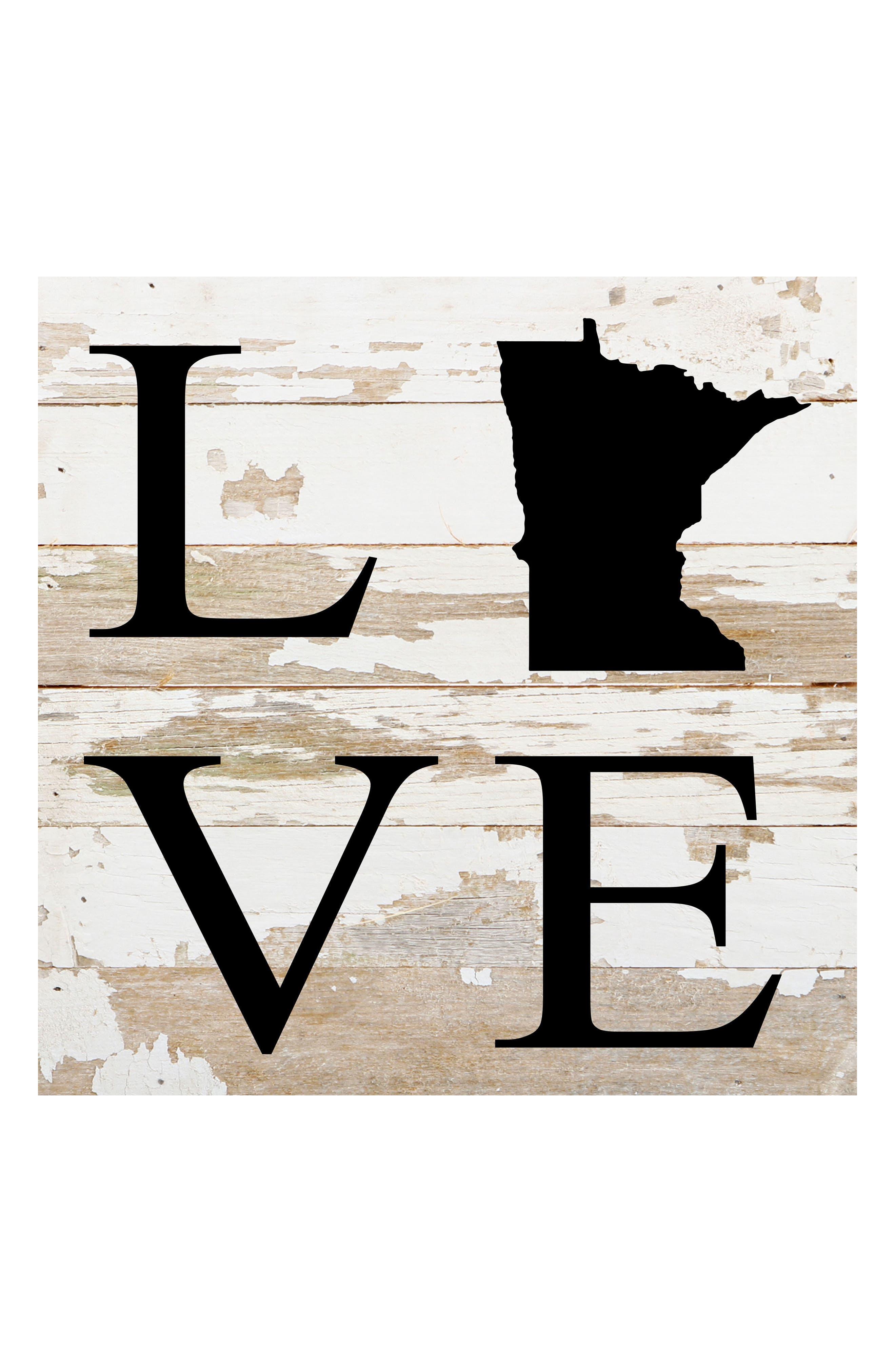 State of Love Repurposed Wood Wall Art,                         Main,                         color, Minnesota