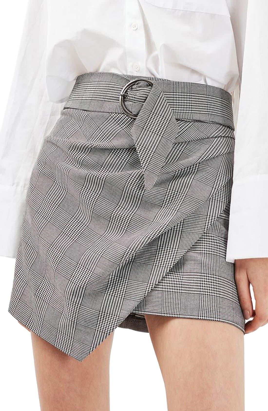 Main Image - Topshop Belted Glen Plaid Miniskirt