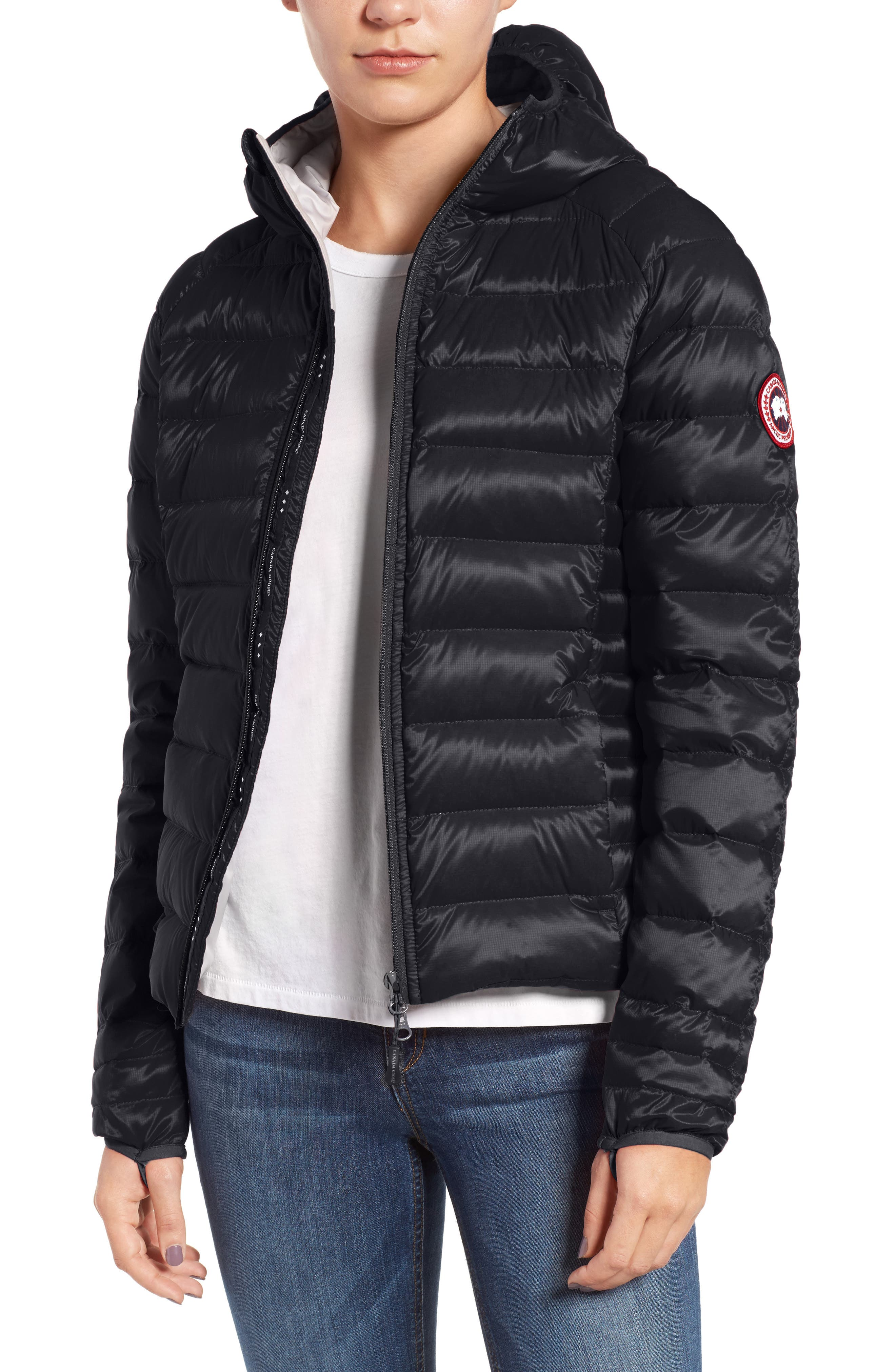'Brookvale' Packable Hooded Quilted Down Jacket,                             Main thumbnail 1, color,                             Black/ Graphite