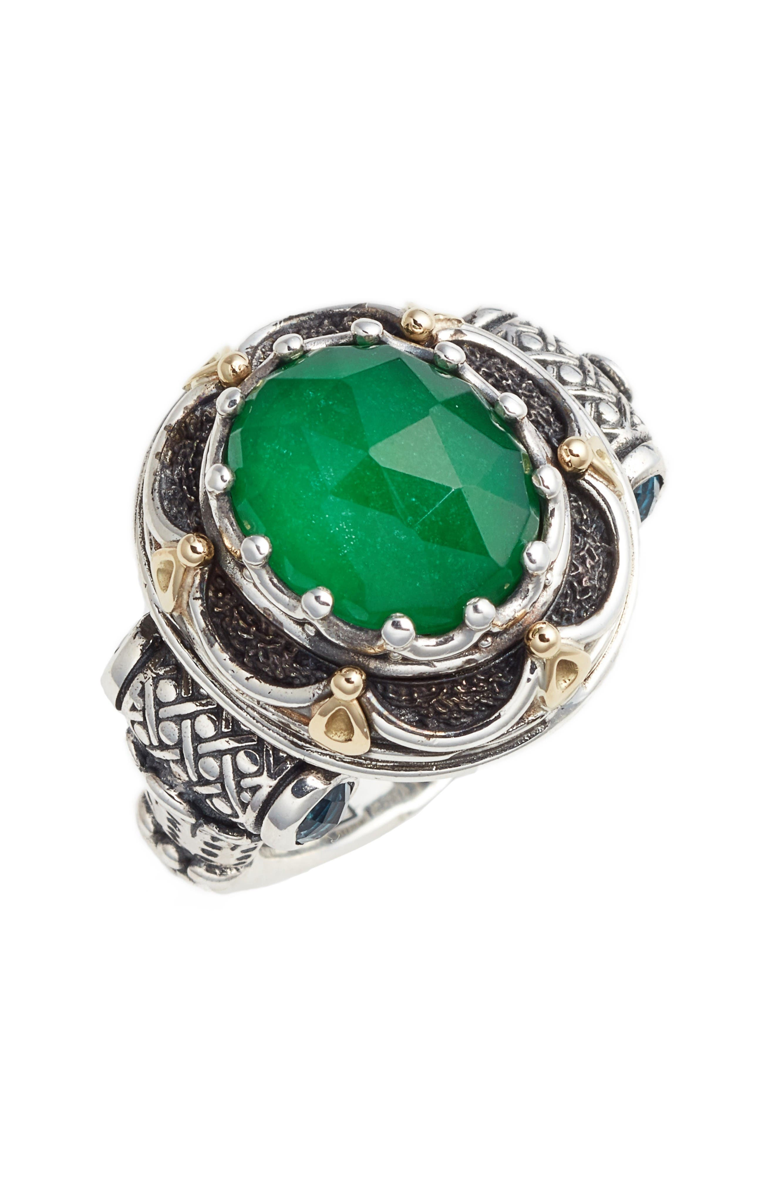 Nemesis Semiprecious Stone Ring,                             Main thumbnail 1, color,                             Jade/ London Blue Topaz