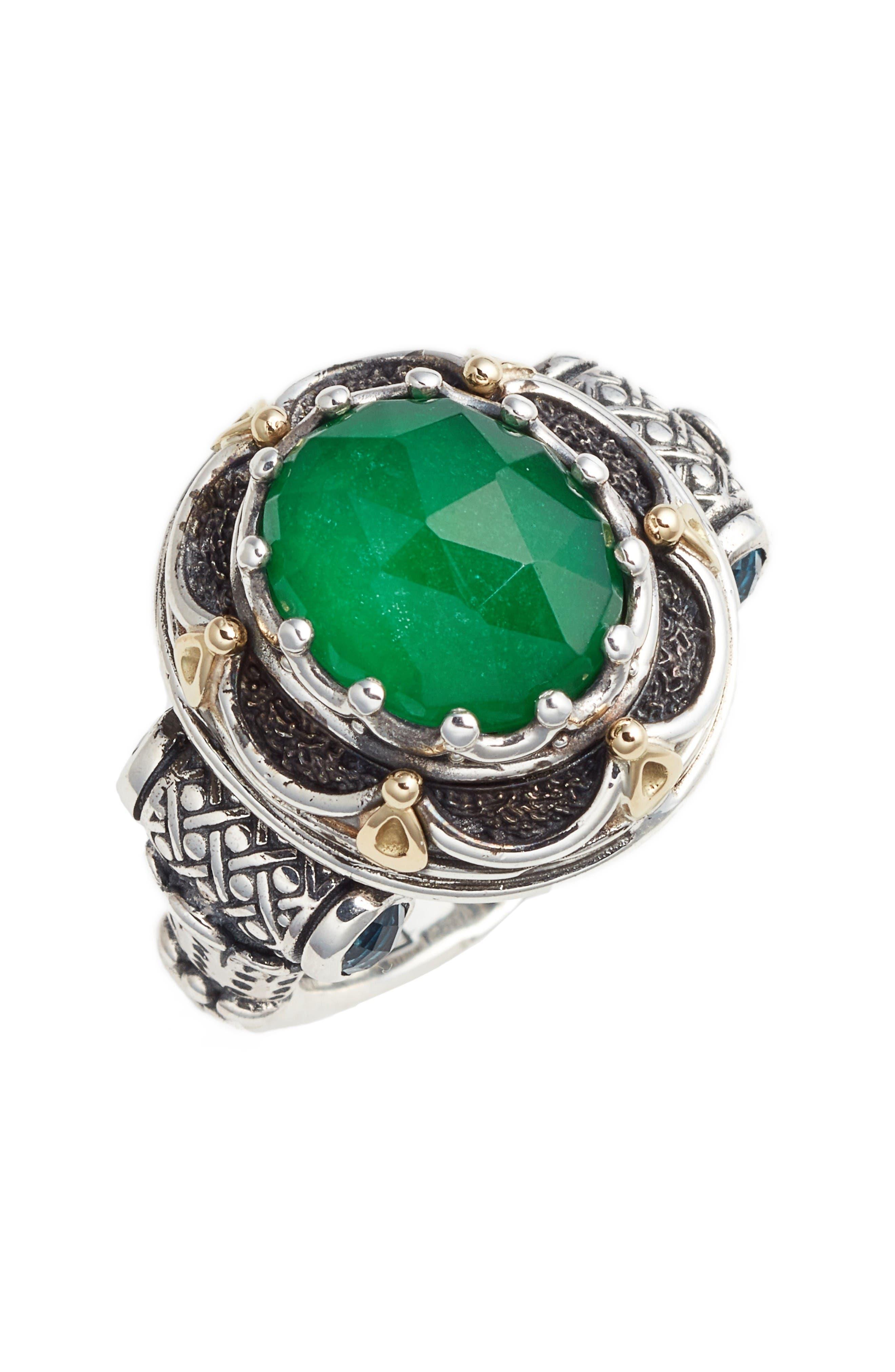 Nemesis Semiprecious Stone Ring,                         Main,                         color, Jade/ London Blue Topaz