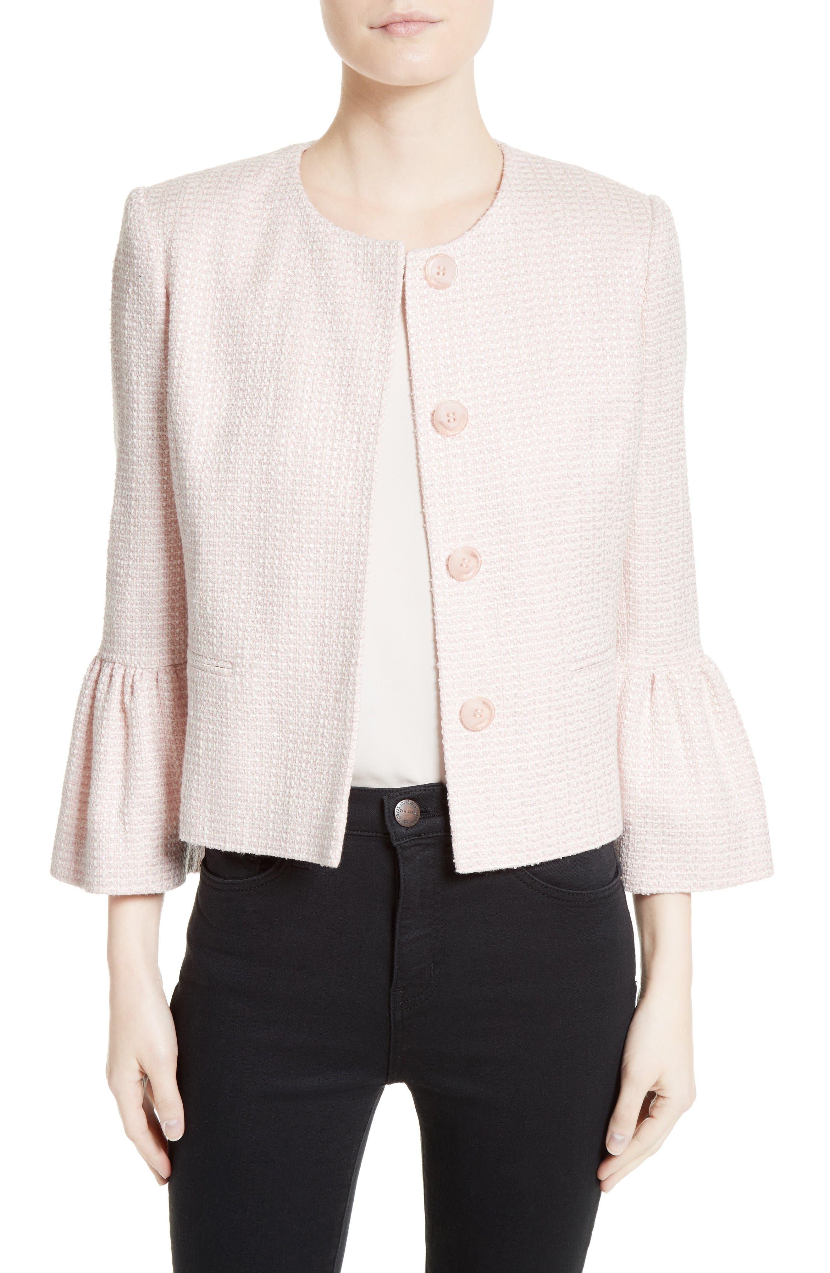 Tweed Jacket,                             Main thumbnail 1, color,                             Pale Pink/ Ivory