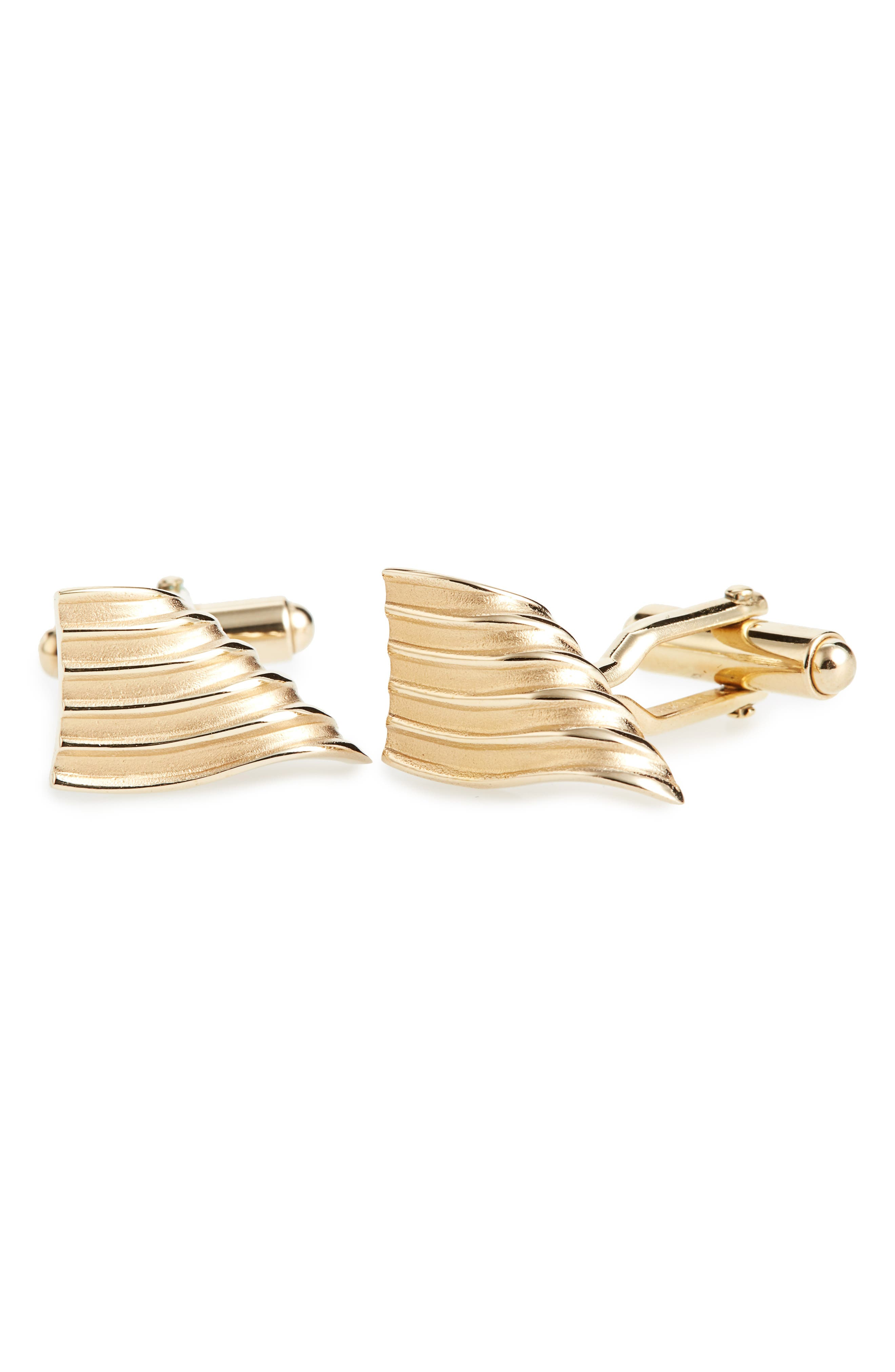 Curved & Grooved Cuff Links,                         Main,                         color, Metallic