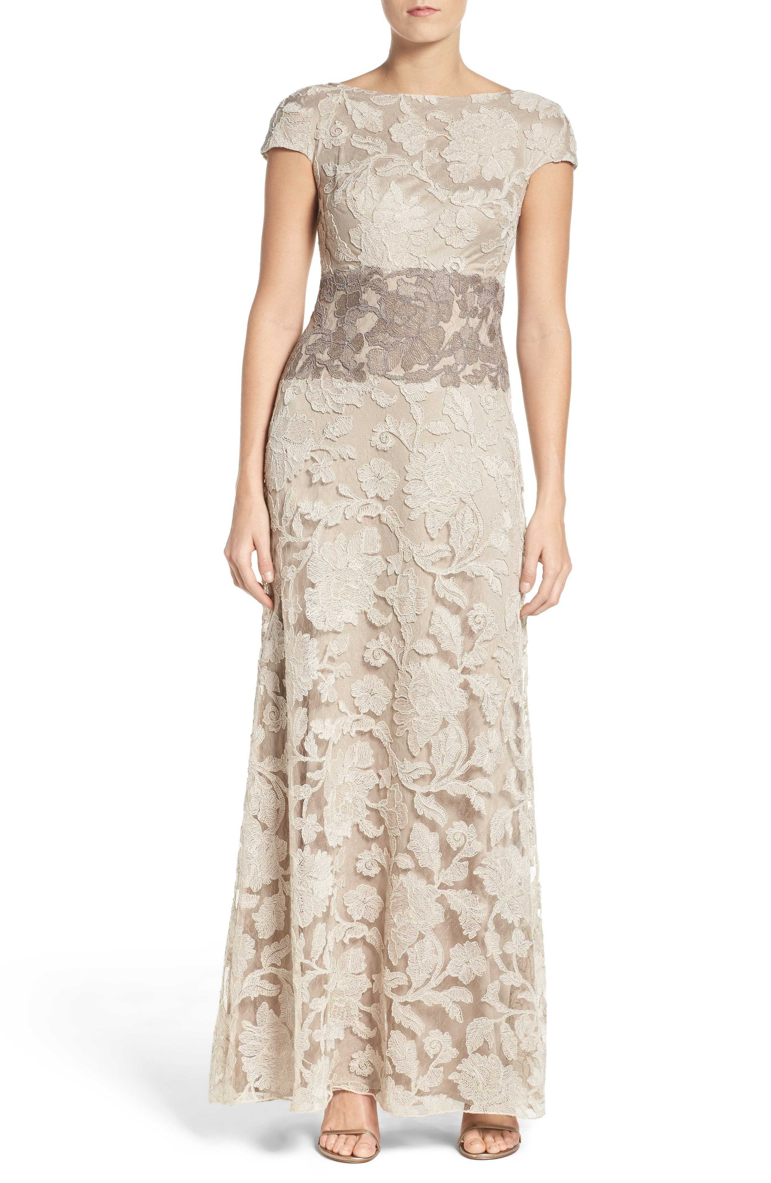 Alternate Image 3  - Tadashi Shoji Floral Embroidered Gown