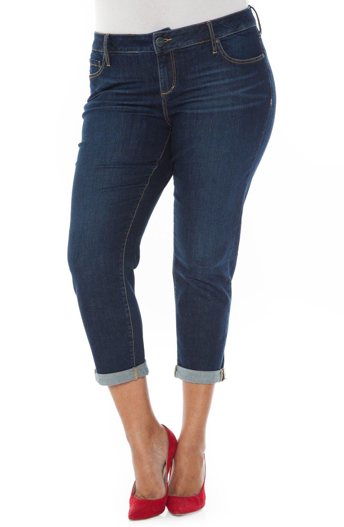 Main Image - SLINK Jeans Roll Crop Boyfriend Jeans (Amber) (Plus Size)