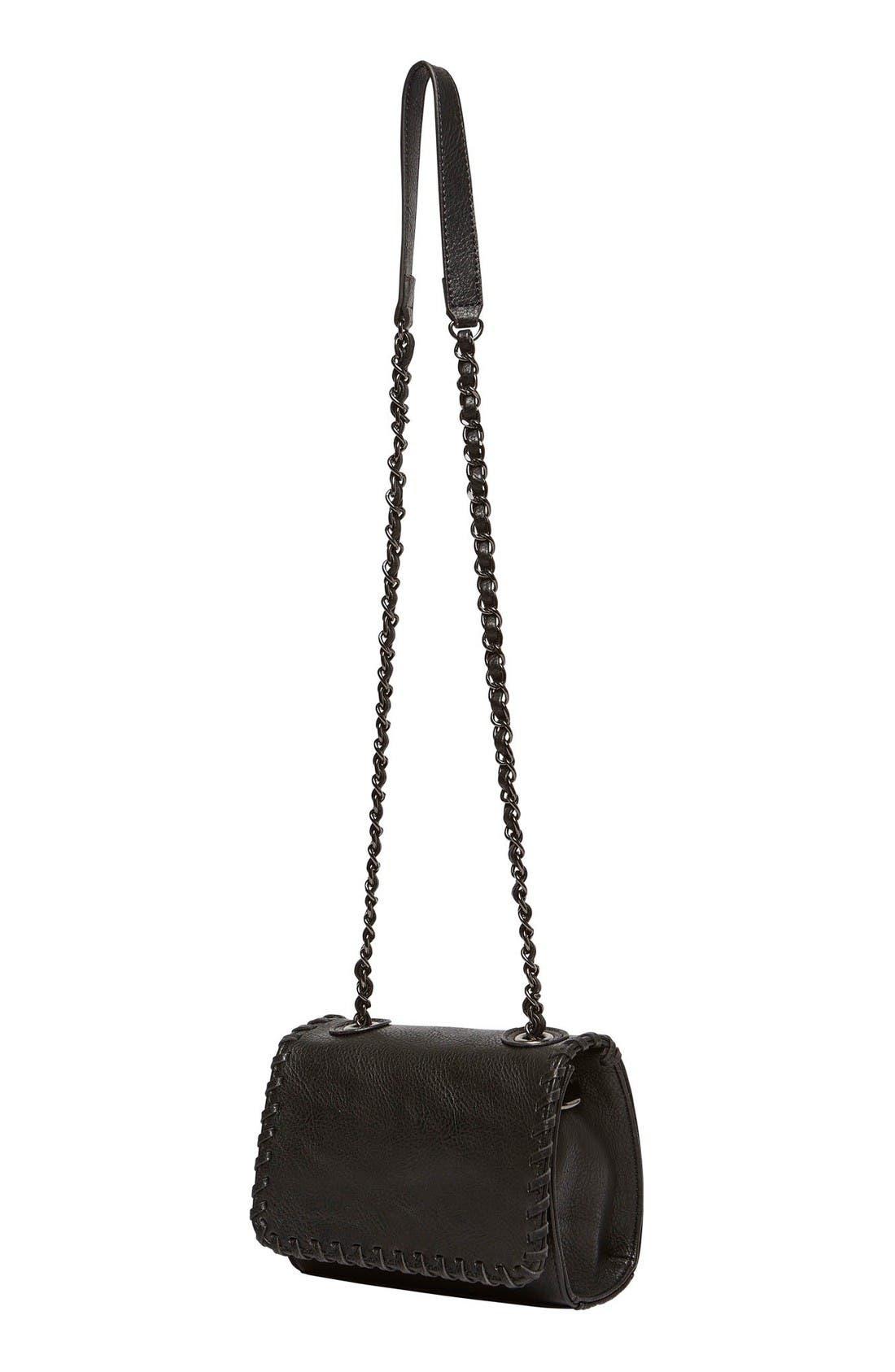 Loveliness Vegan Leather Shoulder Bag,                             Alternate thumbnail 2, color,                             Black
