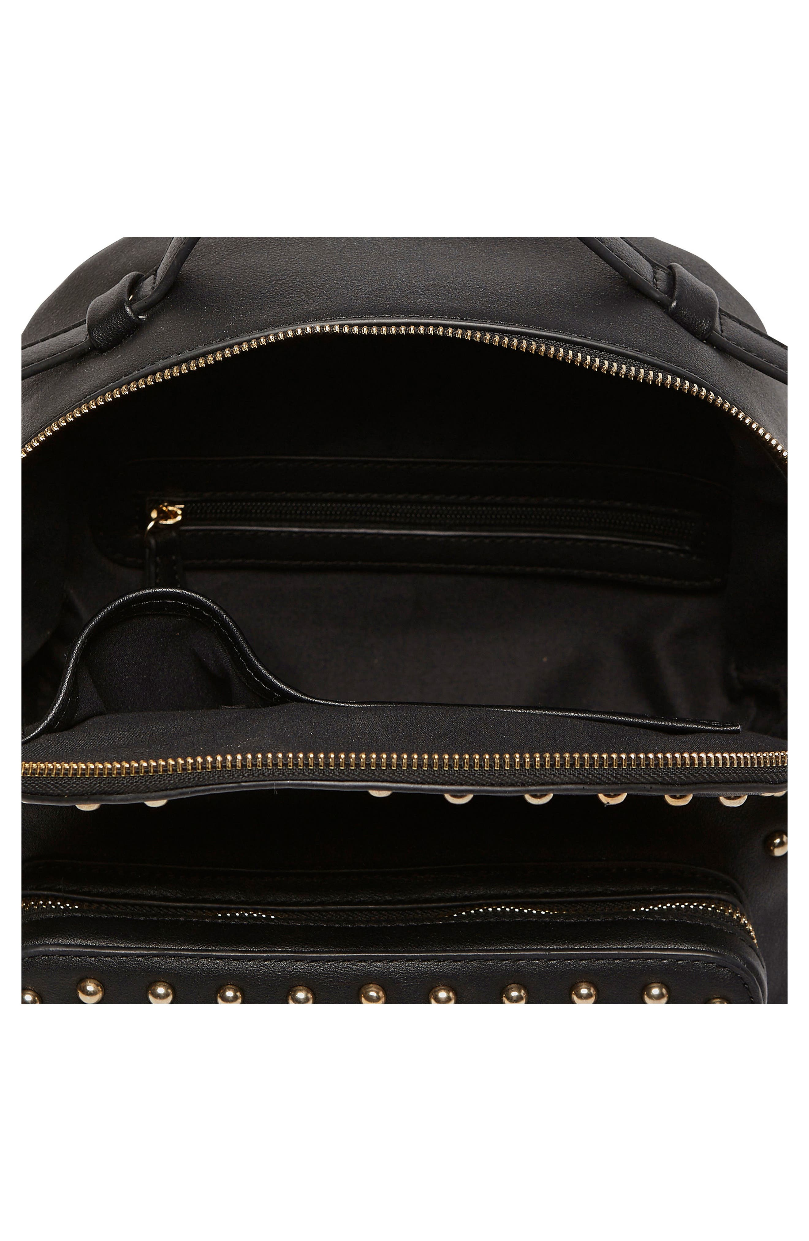 Star Seeker Vegan Leather Backpack,                             Alternate thumbnail 4, color,                             Black