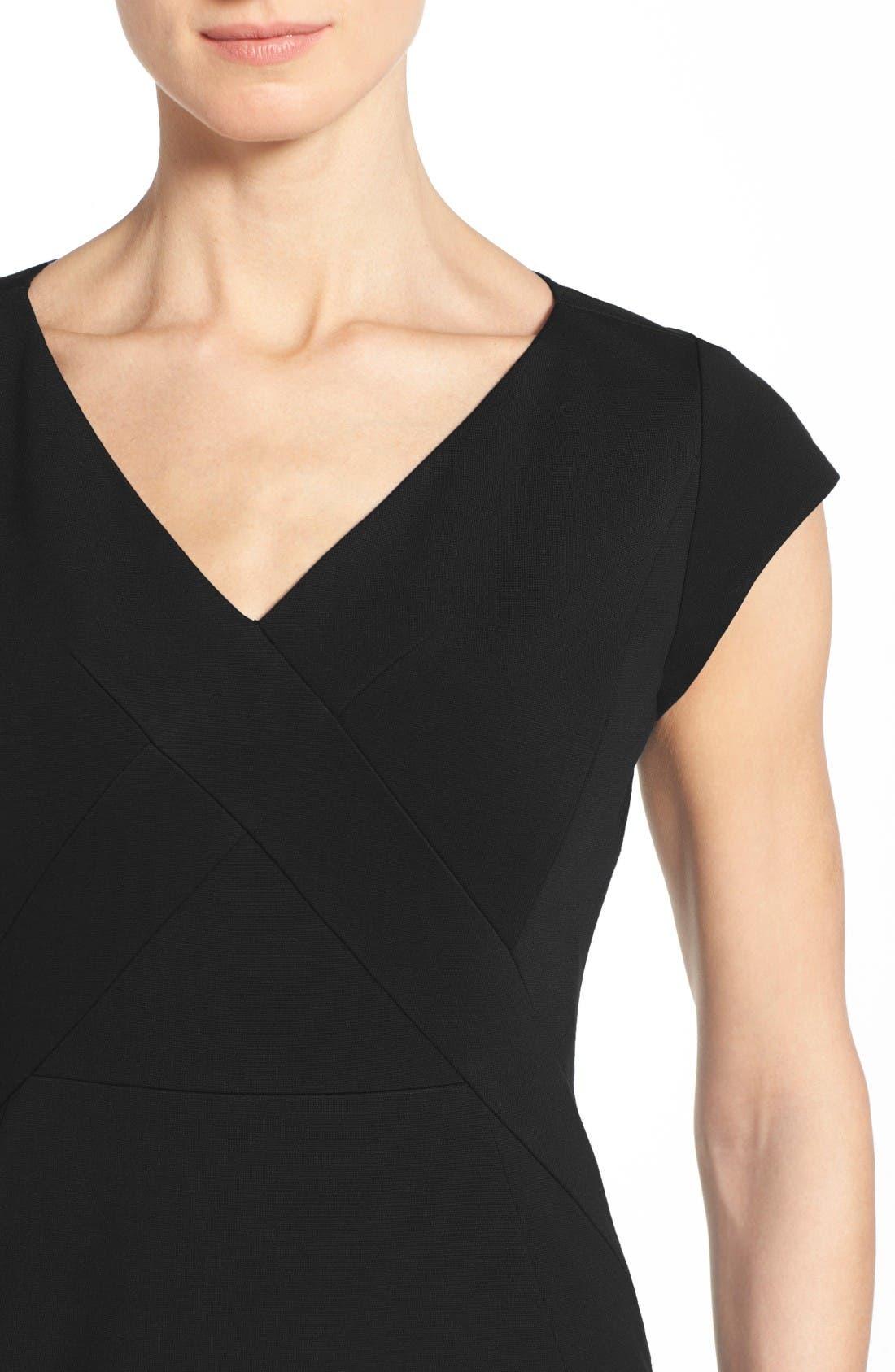 Alternate Image 4  - Classiques Entier® Ponte Knit V-Neck Sheath Dress (Regular & Petite)