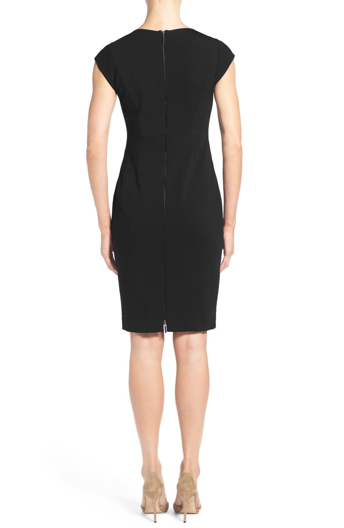 Alternate Image 2  - Classiques Entier® Ponte Knit V-Neck Sheath Dress (Regular & Petite)