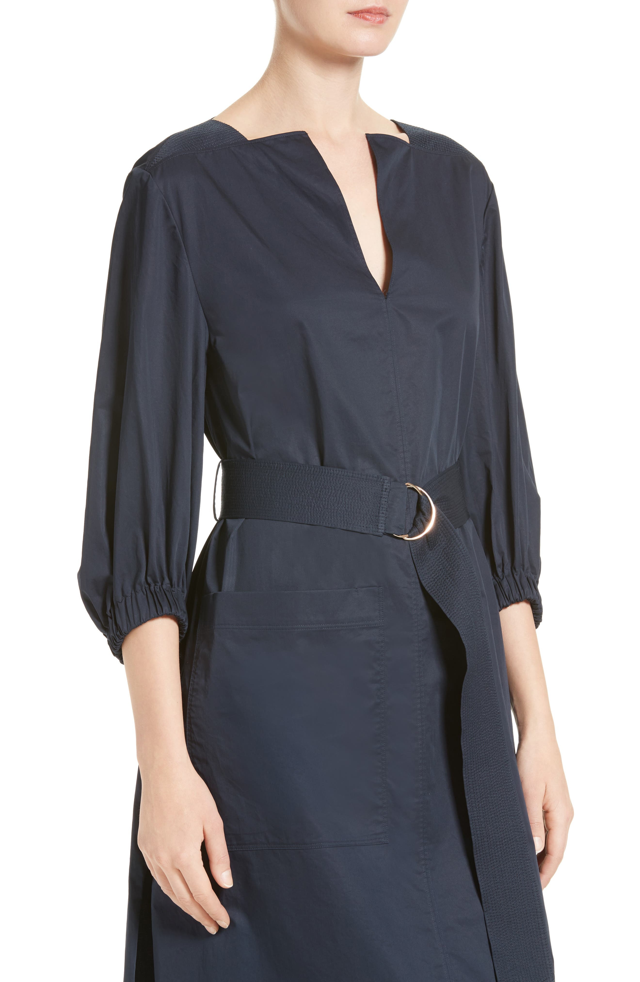 Alternate Image 4  - Tibi Satin Poplin Belted Split Neck Dress