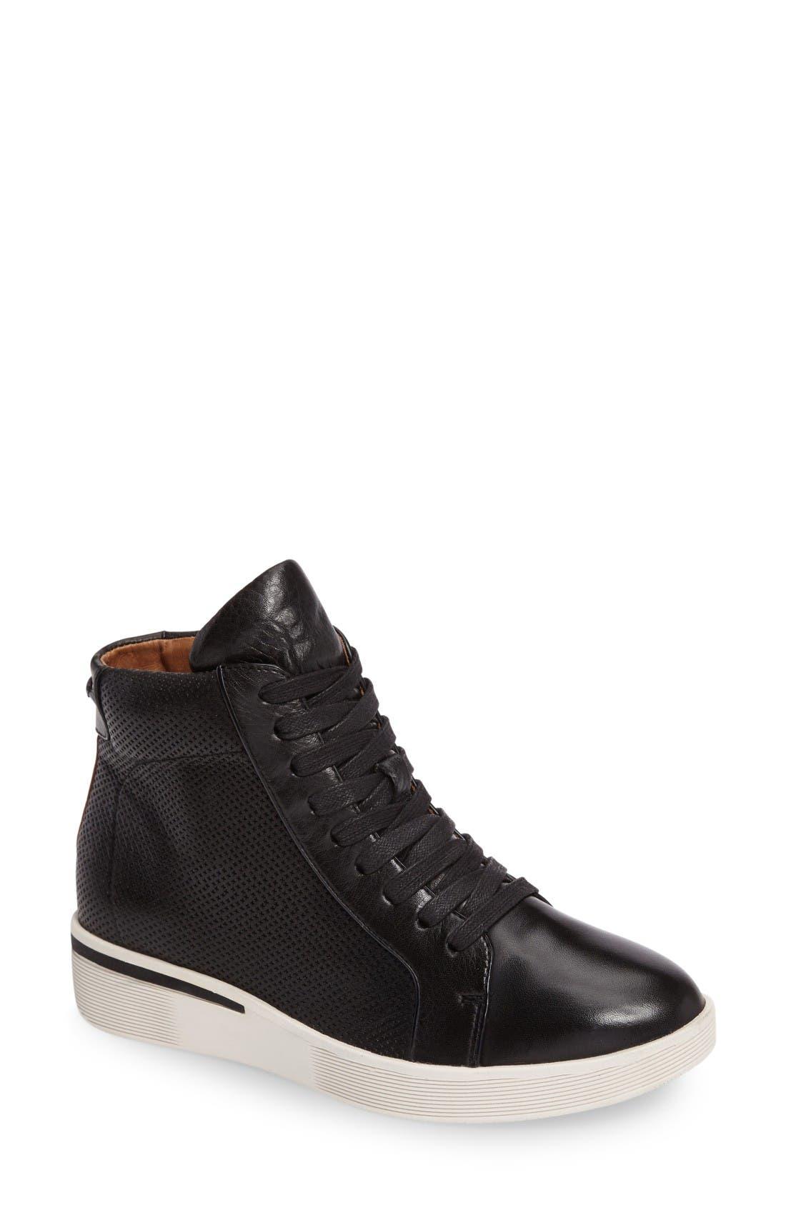 Helka High Top Sneaker,                         Main,                         color, Black Leather