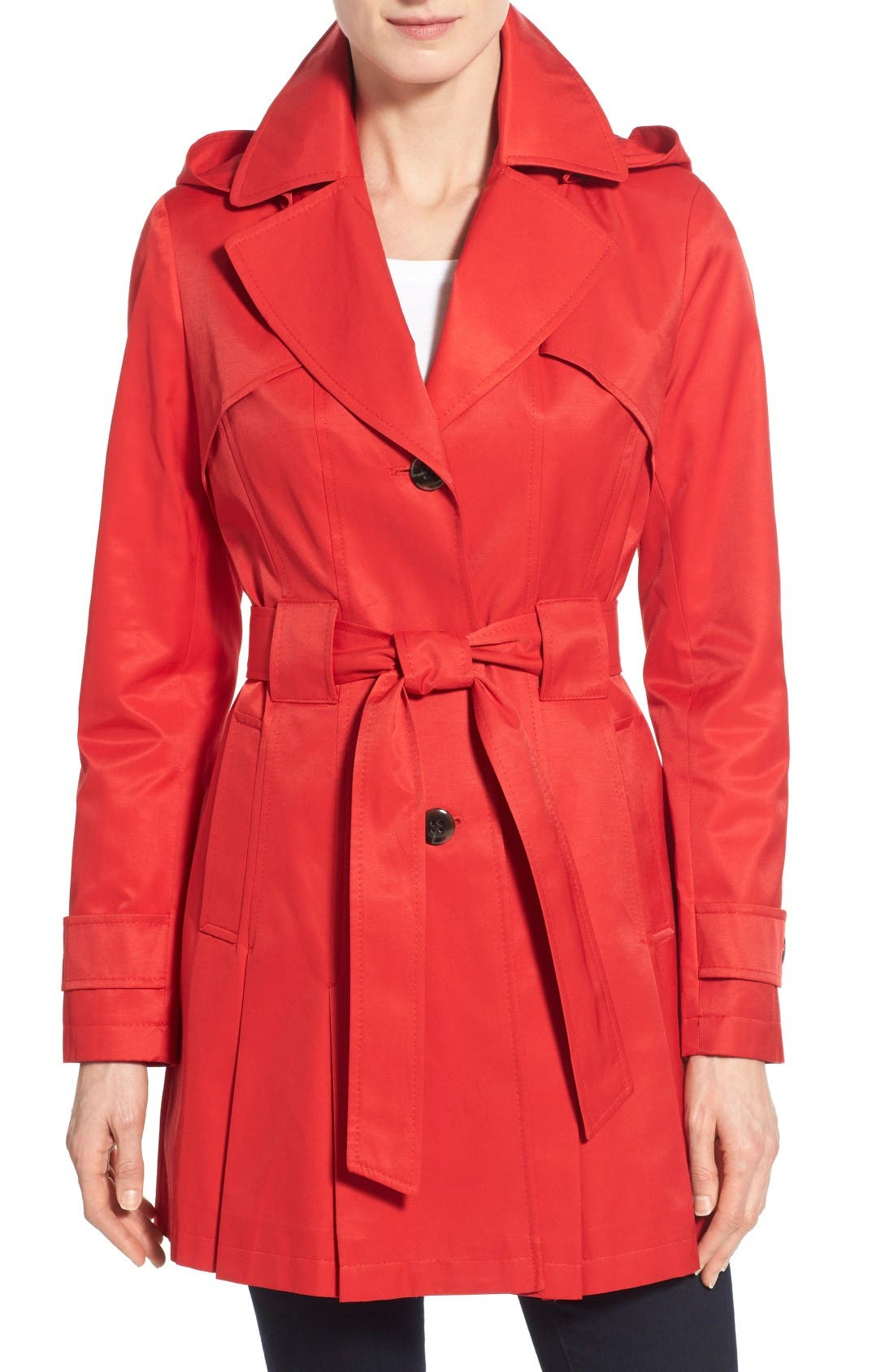 Alternate Image 1 Selected - Via Spiga 'Scarpa' Hooded Single Breasted Trench Coat (Regular & Petite)