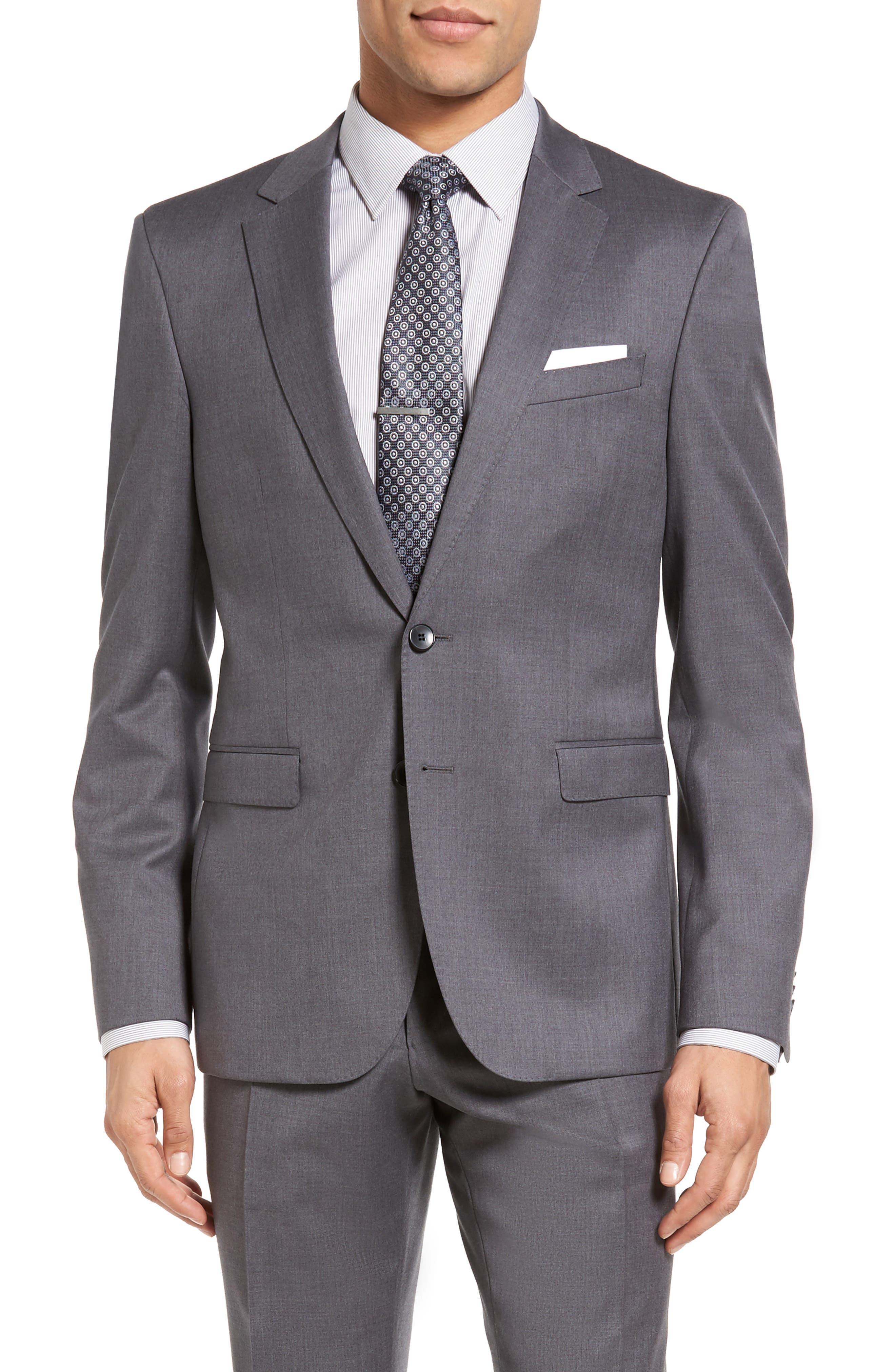 Ryan/Win Trim Fit Solid Wool Suit,                             Alternate thumbnail 2, color,                             Medium Grey