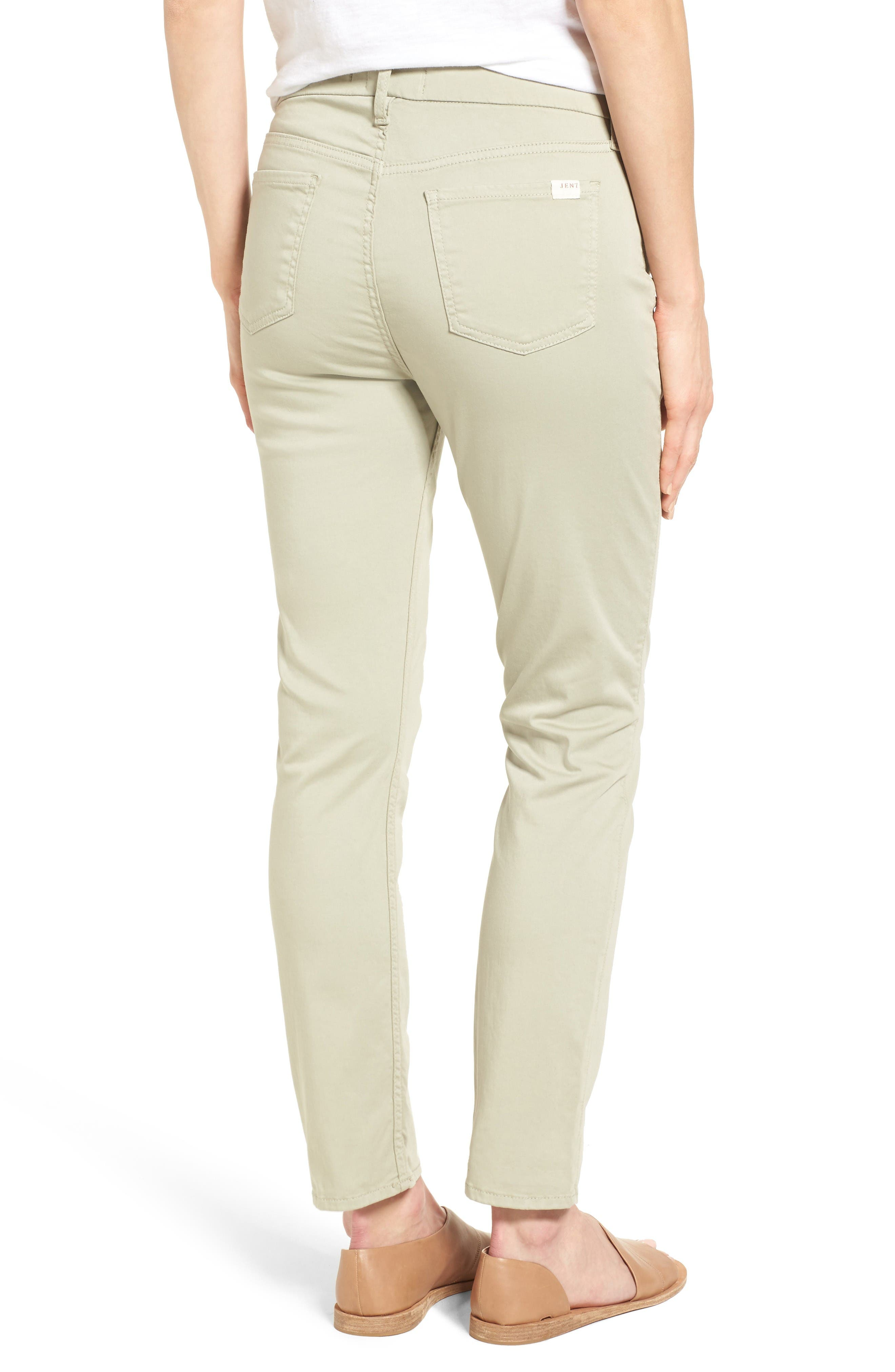 Colored Stretch Ankle Skinny Jeans,                             Alternate thumbnail 2, color,                             Lily Pad