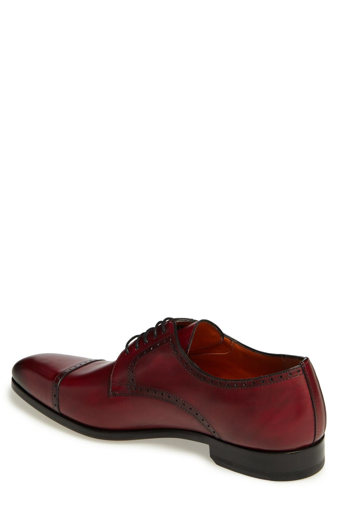 Boas Cap Toe Oxford,                             Alternate thumbnail 2, color,                             Burgundy Leather
