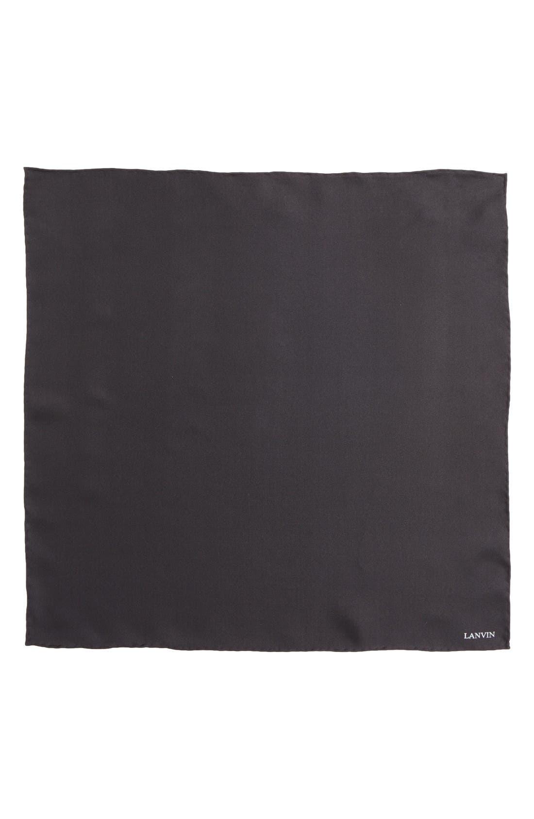Solid Silk Pocket Square,                             Alternate thumbnail 2, color,                             Black