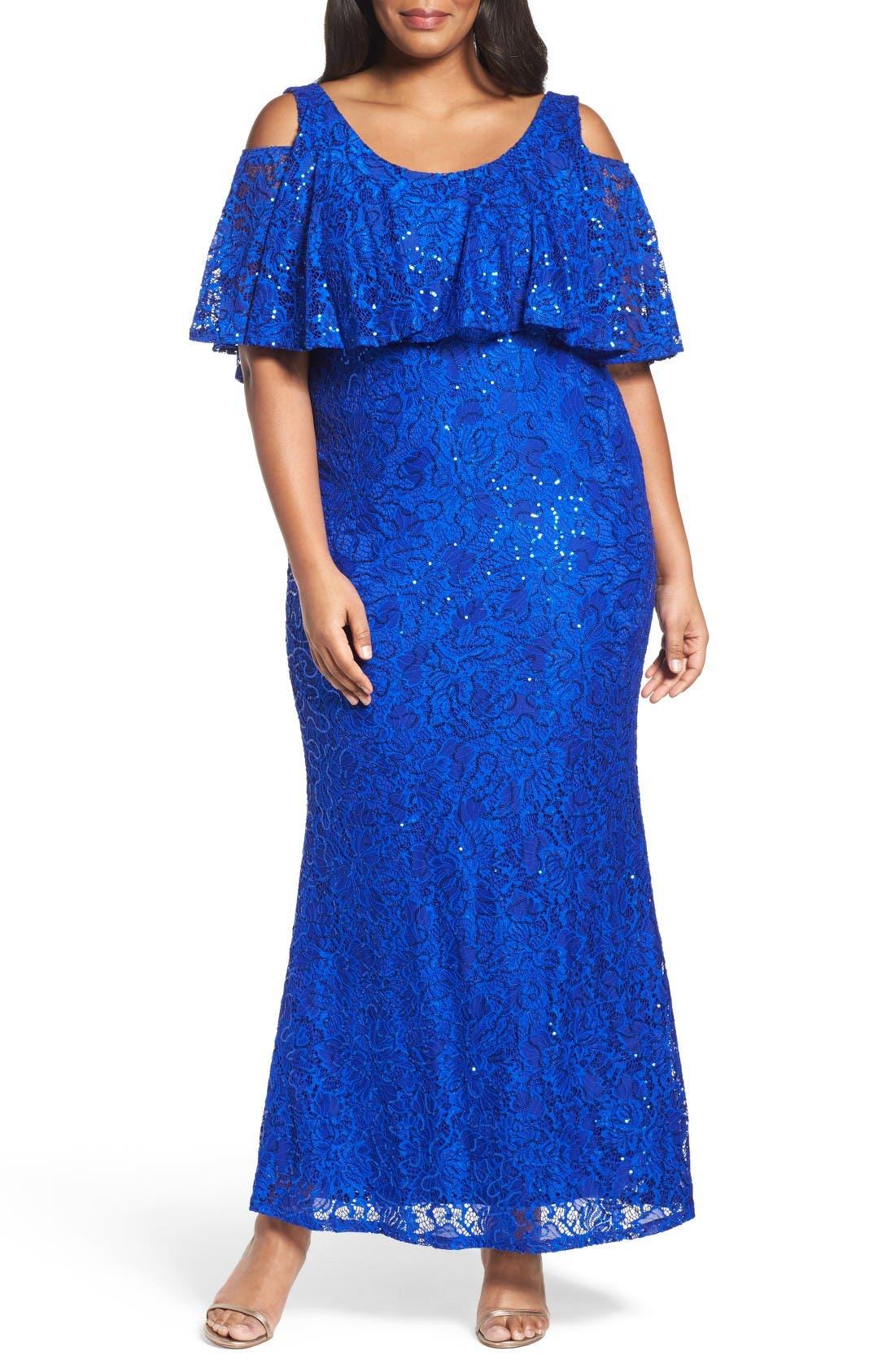 Main Image - Marina Sequin Lace Cold Shoulder Long Dress (Plus Size)